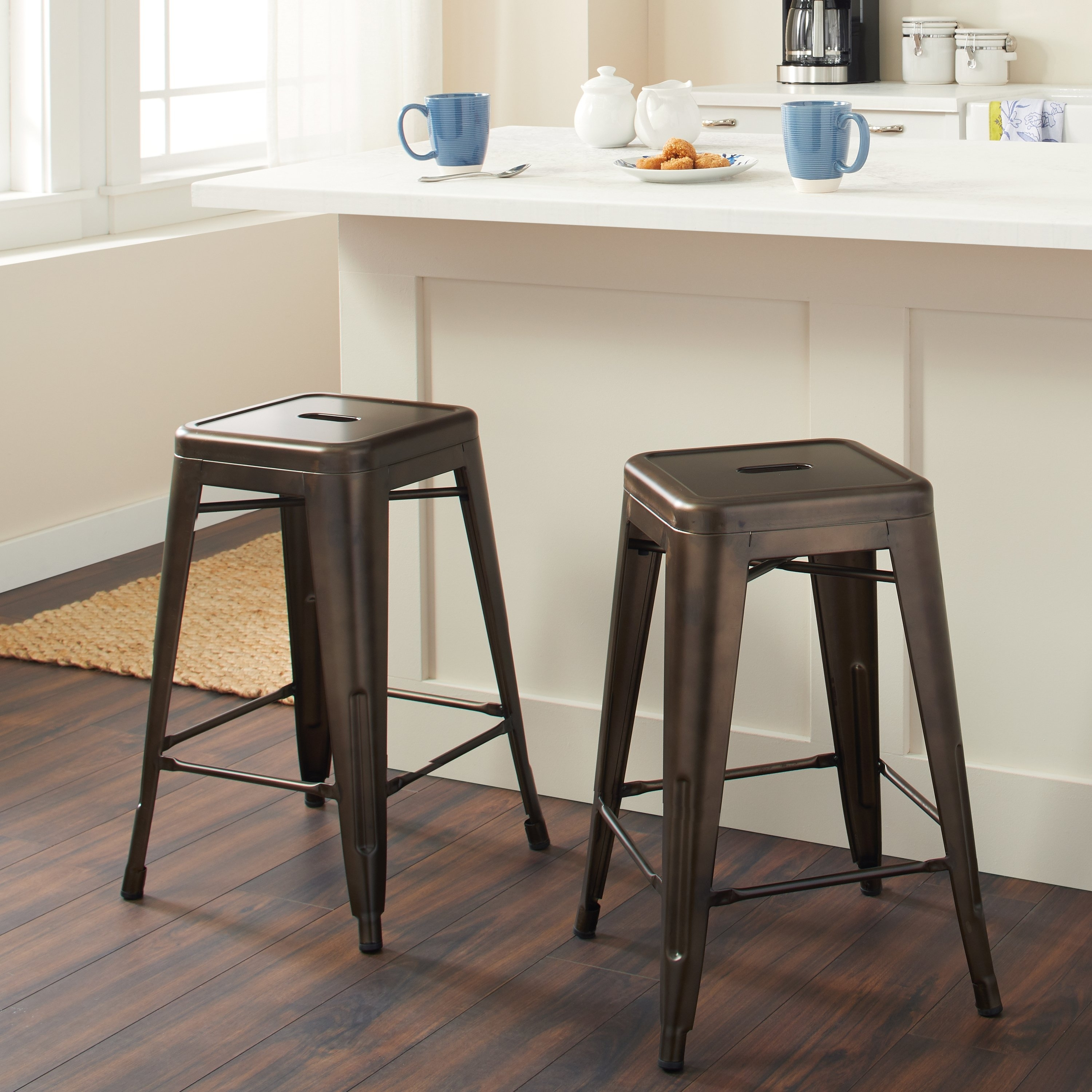 Shop Tabouret 24 Inch Vintage Patina Backless Counter Stool (Set Of Inside Newest Laurent 7 Piece Counter Sets With Upholstered Counterstools (View 2 of 20)