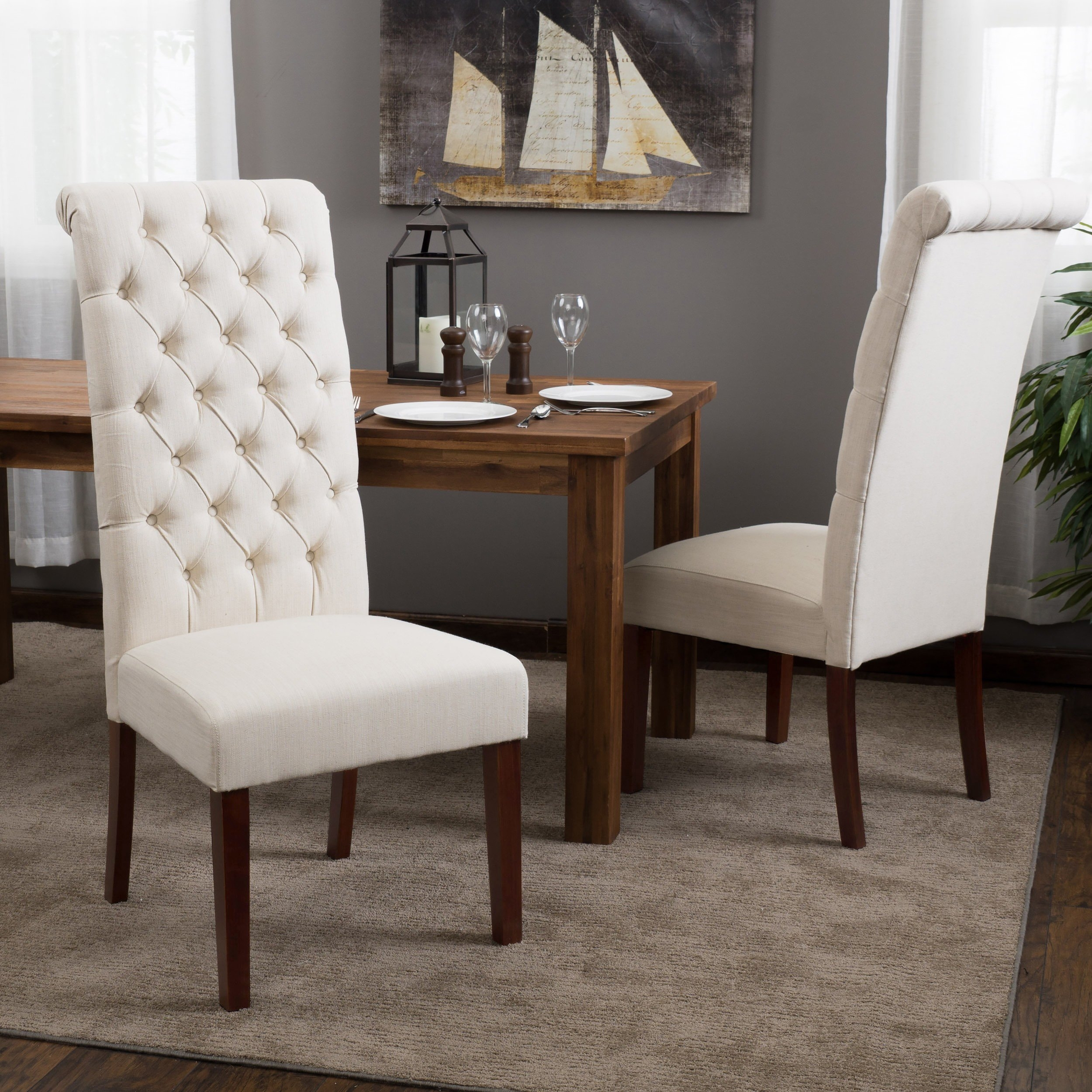 Shop Tall Natural Tufted Fabric Dining Chair (Set Of 2) Inside Most Up To Date Caira Black 5 Piece Round Dining Sets With Diamond Back Side Chairs (Photo 15 of 20)