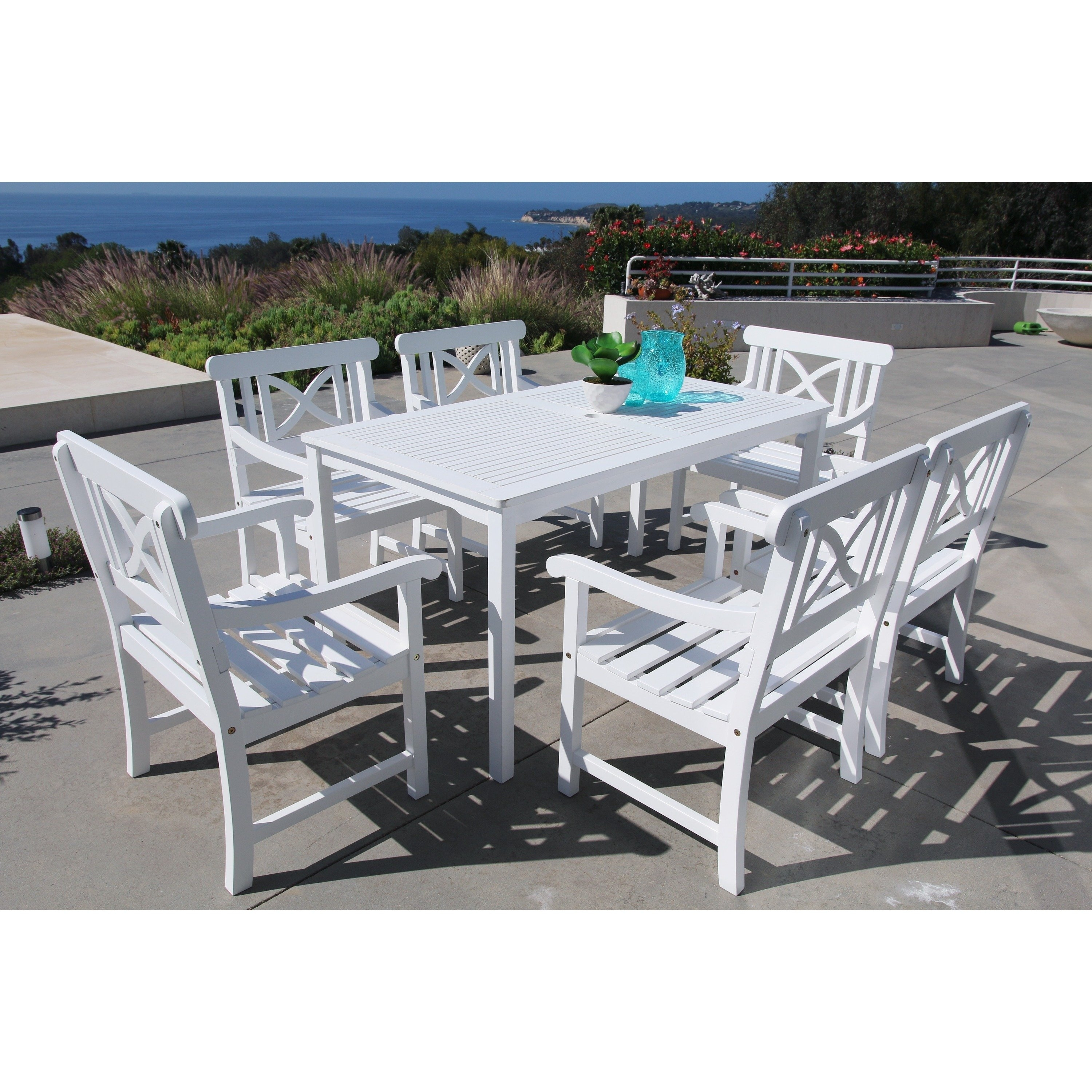Shop The Gray Barn Bluebird 7 Piece Table And Arm Chair Outdoor Within Most Recent Candice Ii 7 Piece Extension Rectangular Dining Sets With Uph Side Chairs (Image 17 of 20)