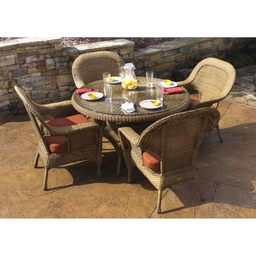 Shop Tortuga Outdoor Lexington 5 Piece Tan Wood Frame Wicker Patio Throughout Most Popular Outdoor Tortuga Dining Tables (View 6 of 20)