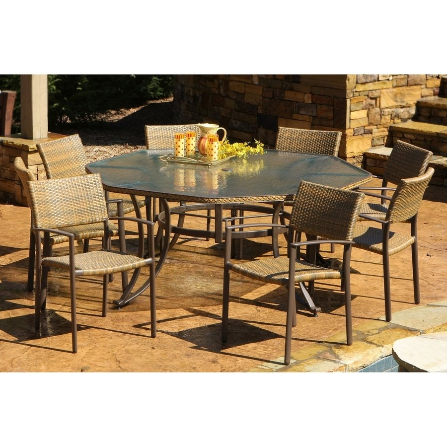 Shop Tortuga Outdoor Maracay 9 Piece Gray Wood Frame Wicker Patio In Most Recently Released Outdoor Tortuga Dining Tables (View 2 of 20)