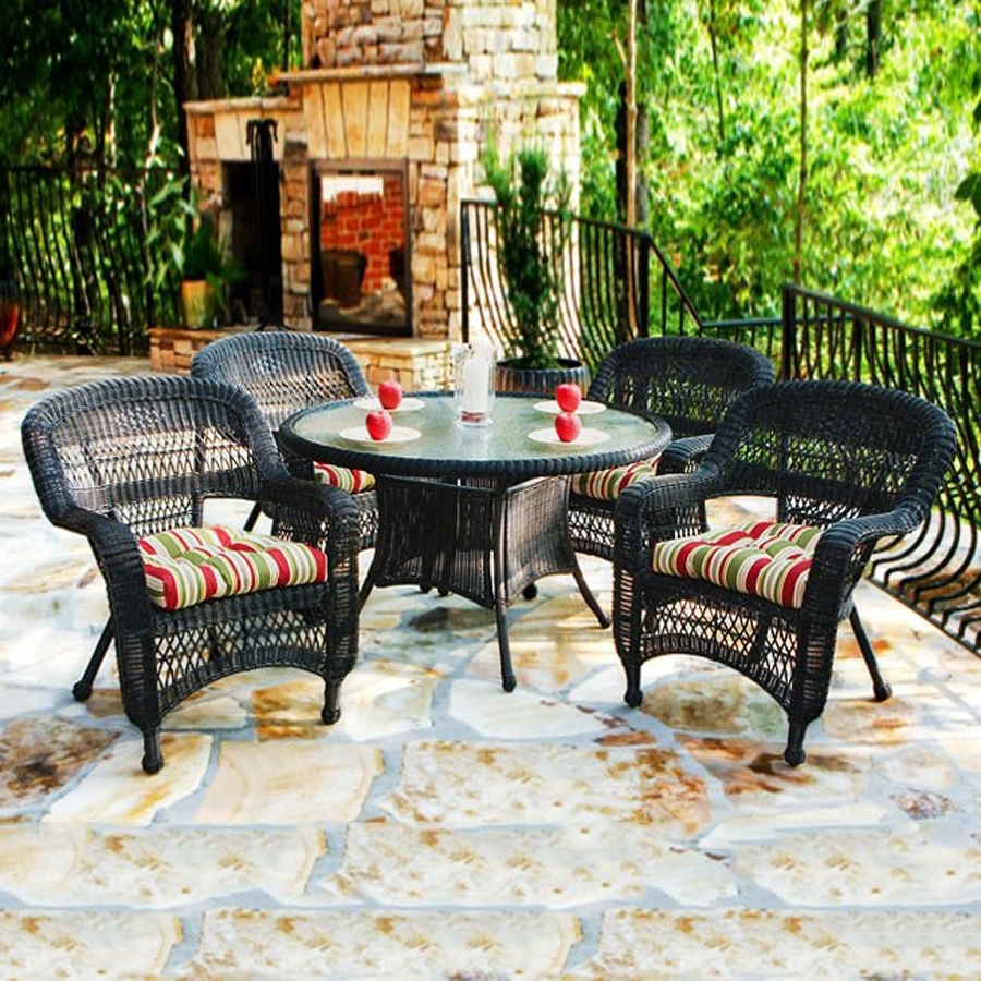 Shop Tortuga Outdoor Portside 5 Piece Brown Wood Frame Wicker Patio Intended For 2018 Outdoor Tortuga Dining Tables (View 3 of 20)