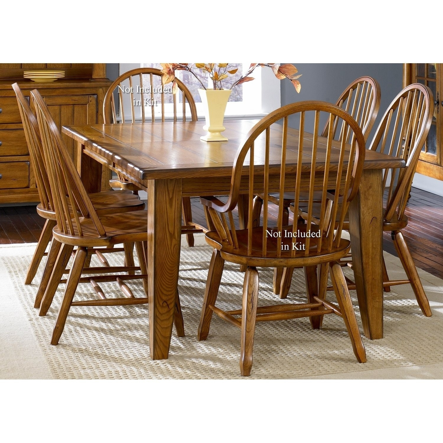 Shop Treasures Rustic Oak 5 Piece Bow Back 44X108 Rectangular With Regard To 2018 Craftsman 7 Piece Rectangle Extension Dining Sets With Arm & Side Chairs (Image 17 of 20)
