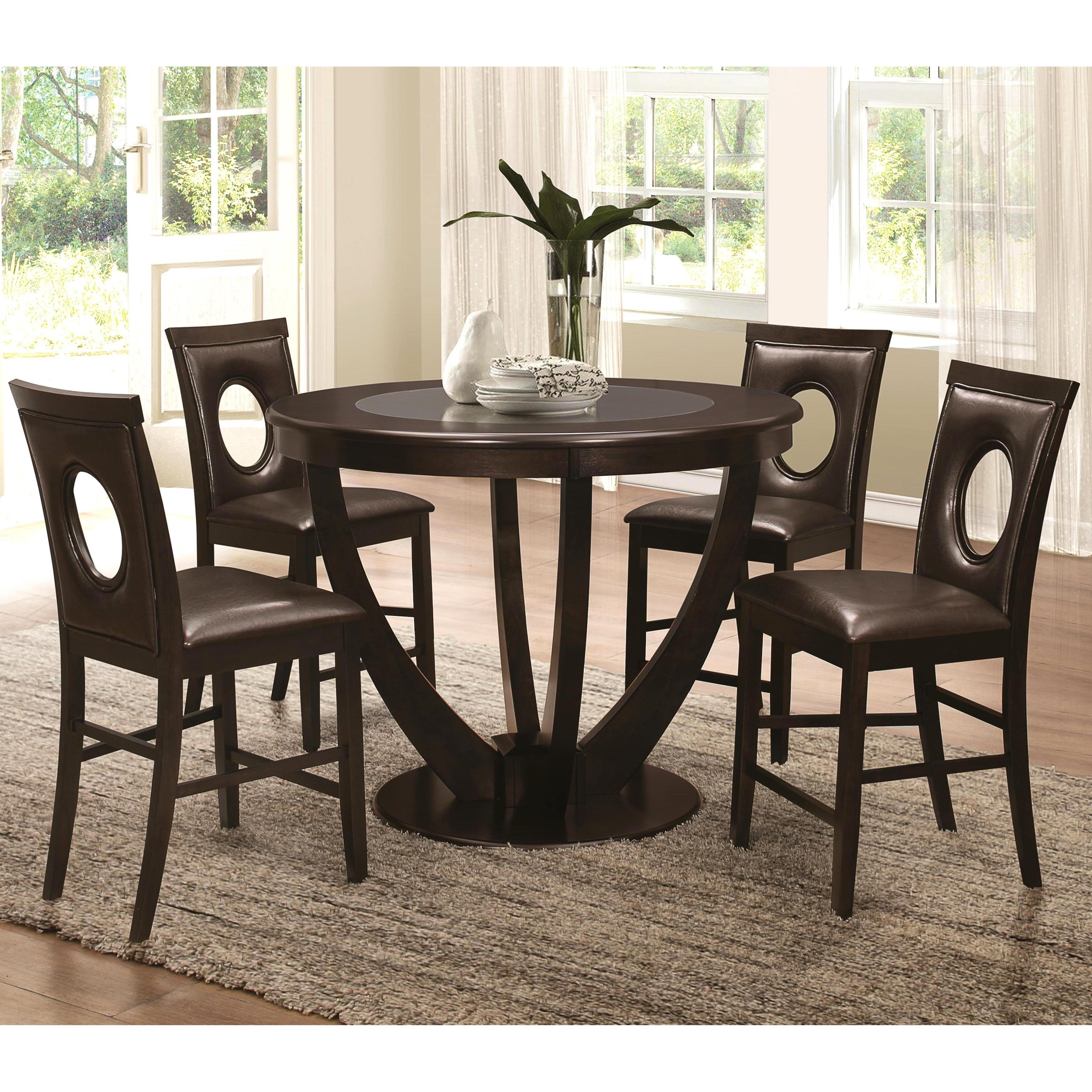 Shop Valencia Casual 5 Piece Counter Height Dininig Set With Black In Current Valencia 5 Piece Counter Sets With Counterstool (View 4 of 20)