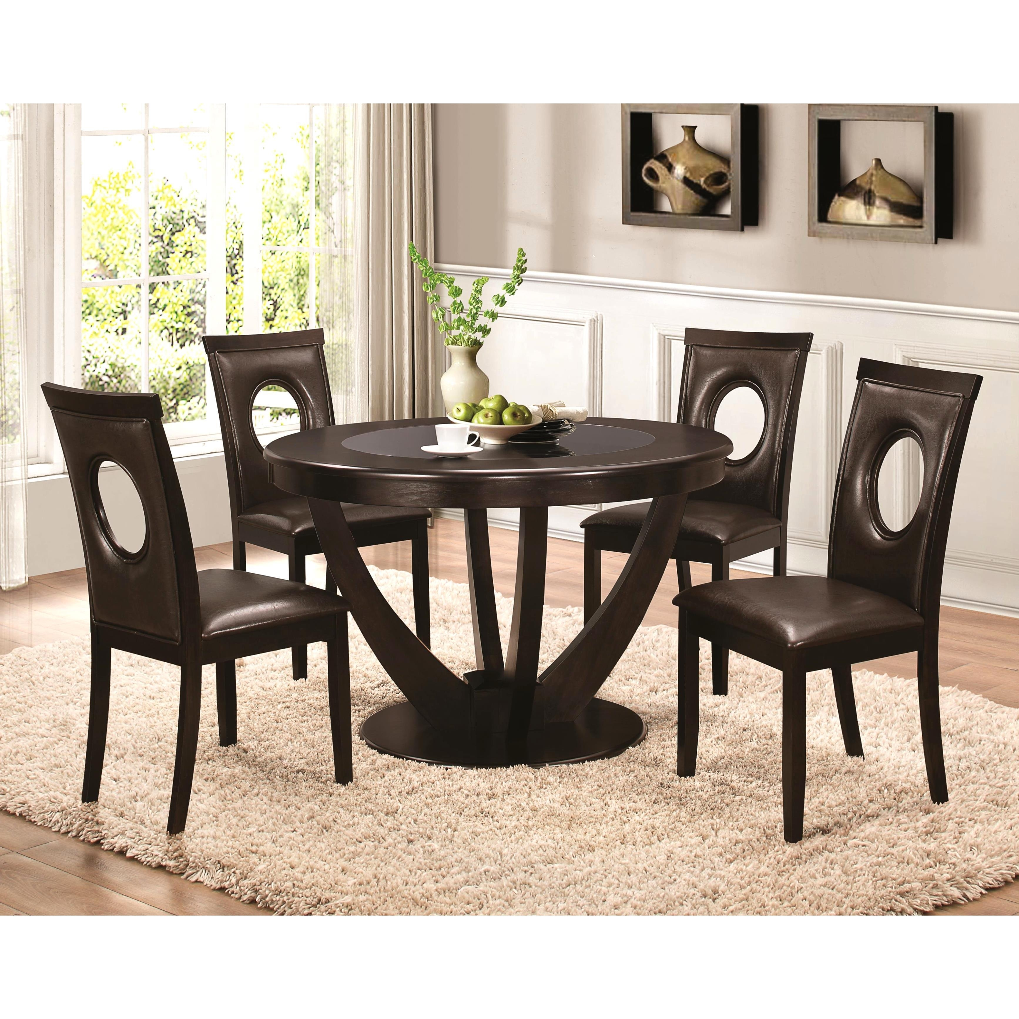 Shop Valencia Casual 5 Piece Round Dininig Set With Black Tempered Intended For Newest Valencia 72 Inch 7 Piece Dining Sets (View 17 of 20)