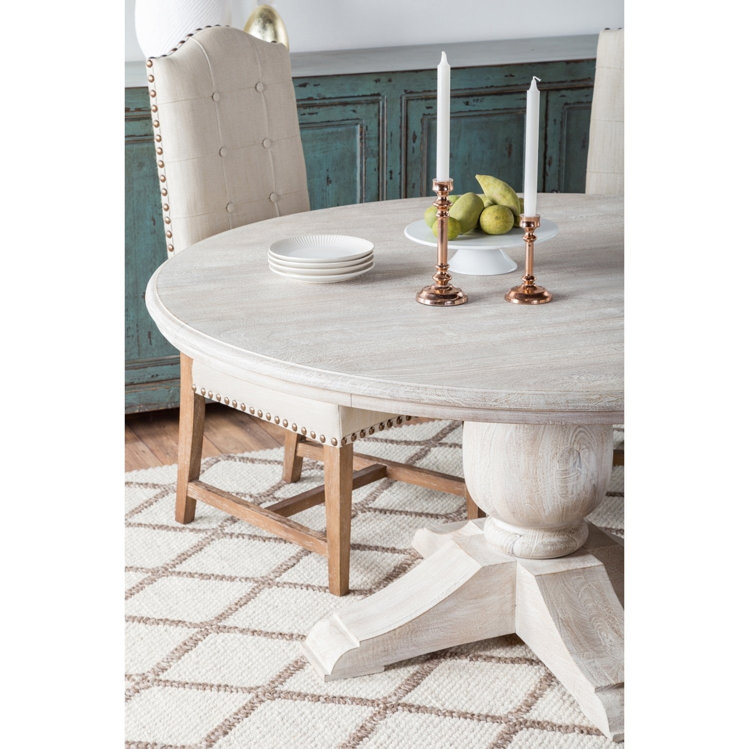 Shop Valencia Wood Antique White 60 Inch Dining Tablekosas Home Intended For Current Valencia 60 Inch Round Dining Tables (Image 14 of 20)