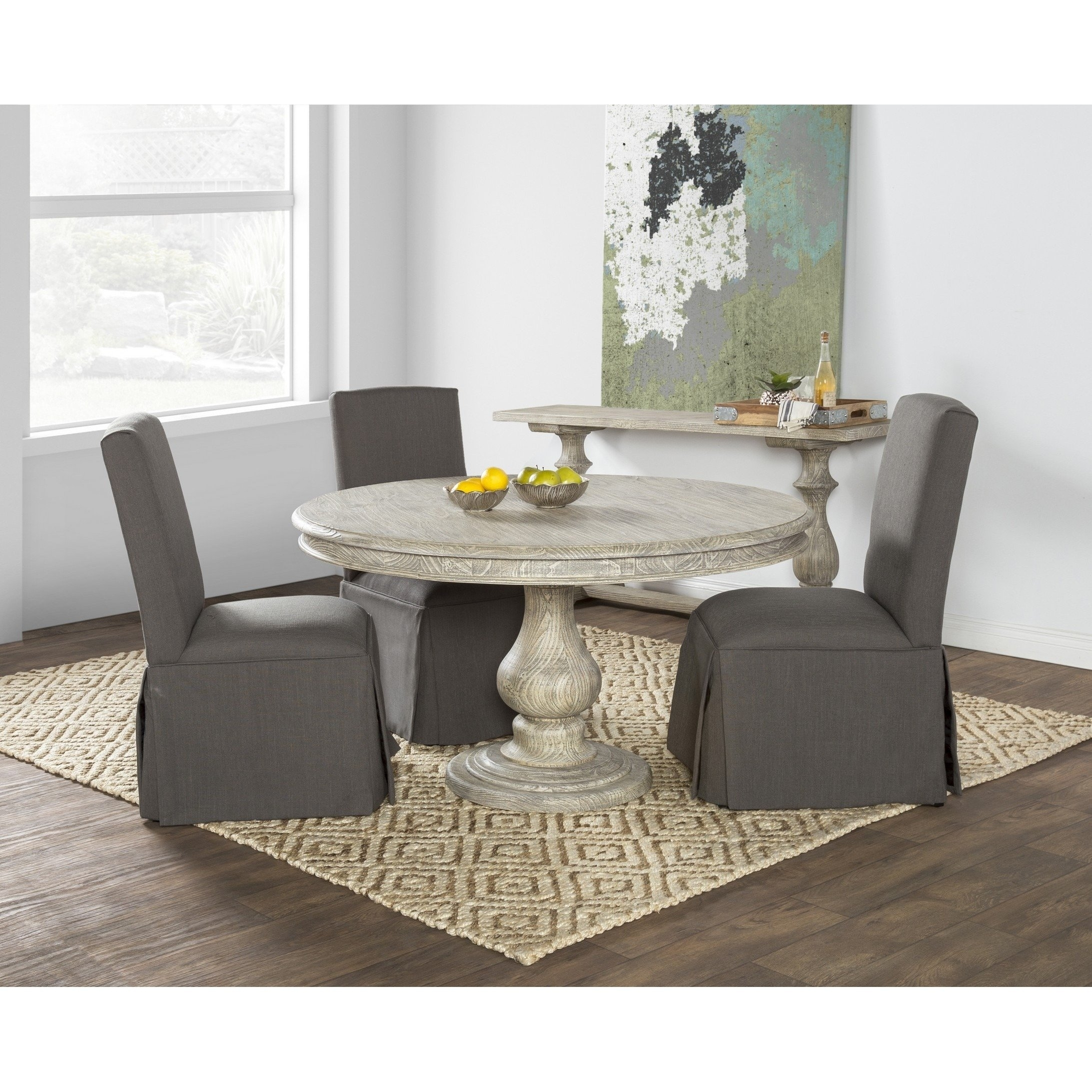 Shop Wakefield Reclaimed Wood Grey Round Dining Tablekosas Home For Newest Valencia 5 Piece 60 Inch Round Dining Sets (View 14 of 20)
