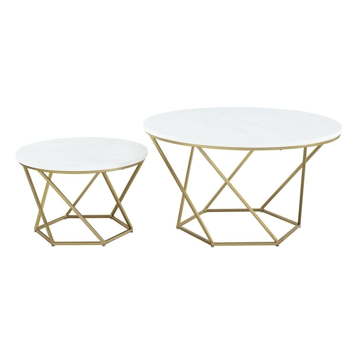 Shop We Furniture Geometric Nesting Coffee Table – White Marble And Inside Current Carly Triangle Tables (View 5 of 20)