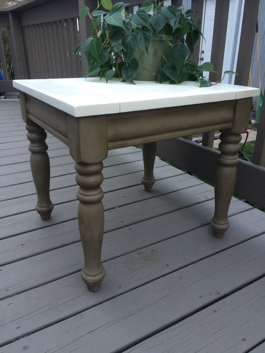 Side Table Refinished In Annie Sloan French Linen W/dark Wax (Legs Throughout Newest Washed Old Oak & Waxed Black Legs Bar Tables (View 5 of 20)