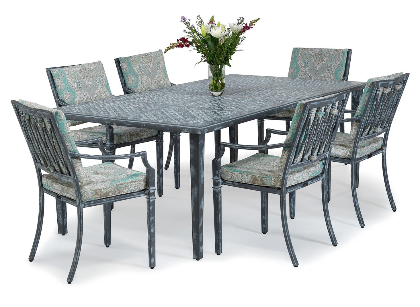 Sienna Metal Outdoor Dining Set, Metal Outdoor Furniture From Inside Newest Outdoor Sienna Dining Tables (Image 16 of 20)