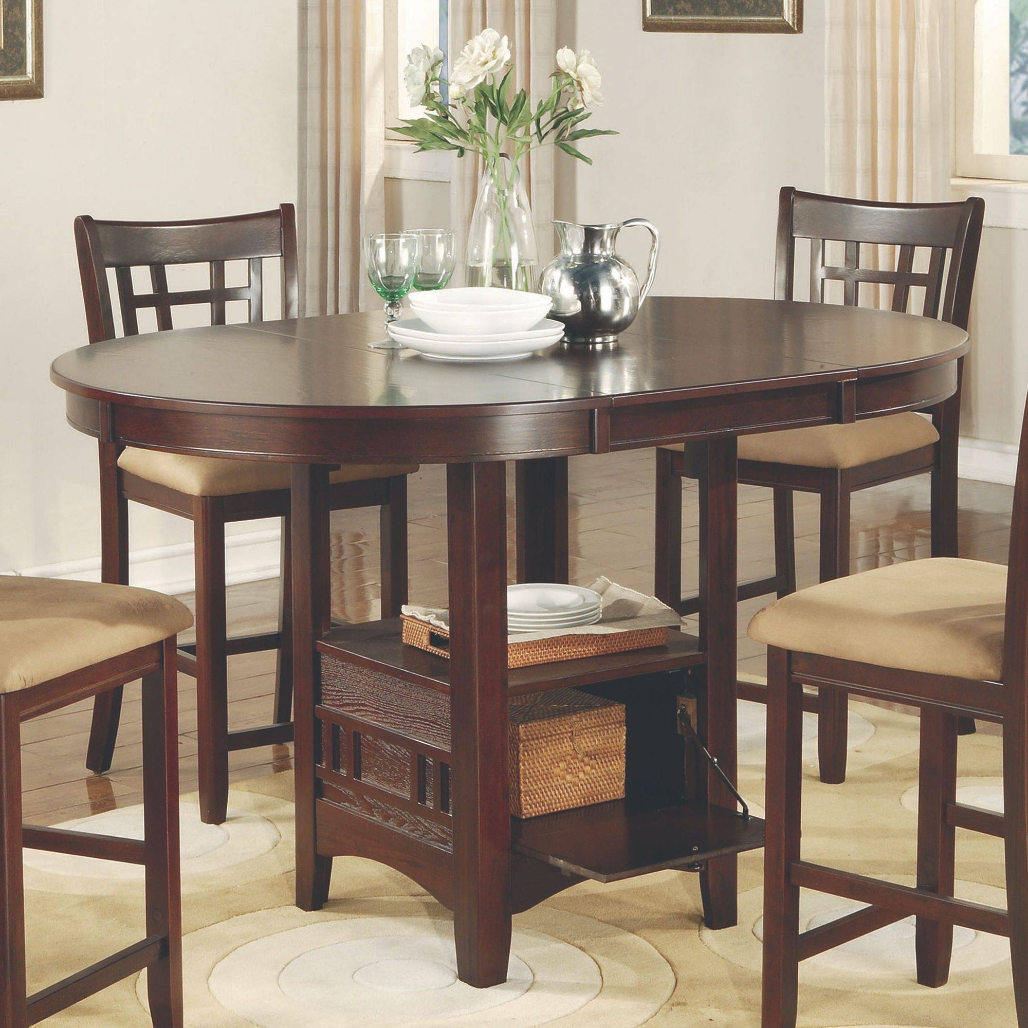Signature Designashley Kimonte Rectangular Dining Counter Table For Newest Jaxon 5 Piece Extension Round Dining Sets With Wood Chairs (Image 16 of 20)
