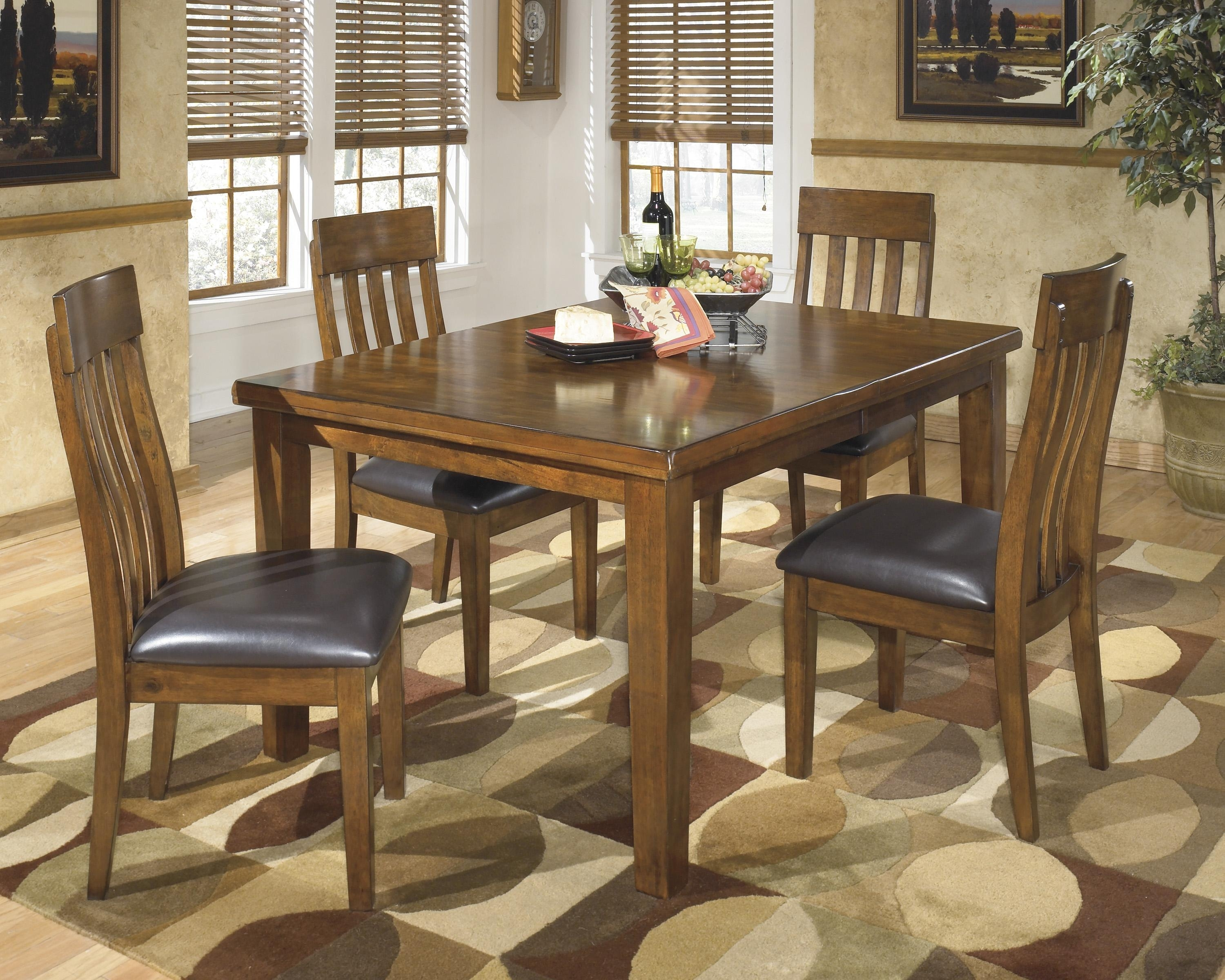Signature Designashley Ralene Casual 5 Piece Dining Set With Within 2017 Jaxon 5 Piece Extension Counter Sets With Fabric Stools (Image 19 of 20)