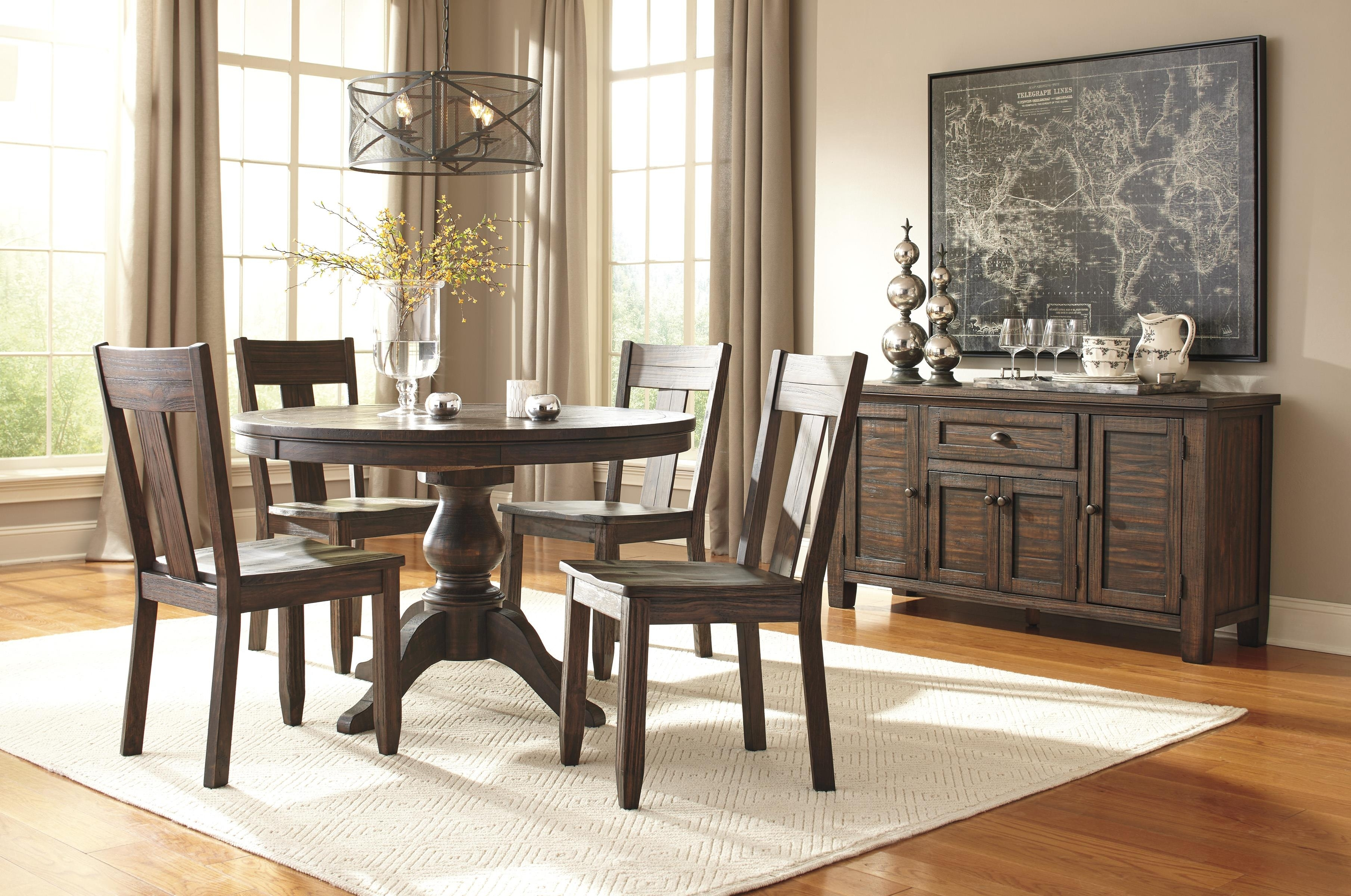 Signature Designashley Trudell 5 Piece Round Dining Table Set Pertaining To Current Jaxon 5 Piece Extension Counter Sets With Wood Stools (Image 20 of 20)