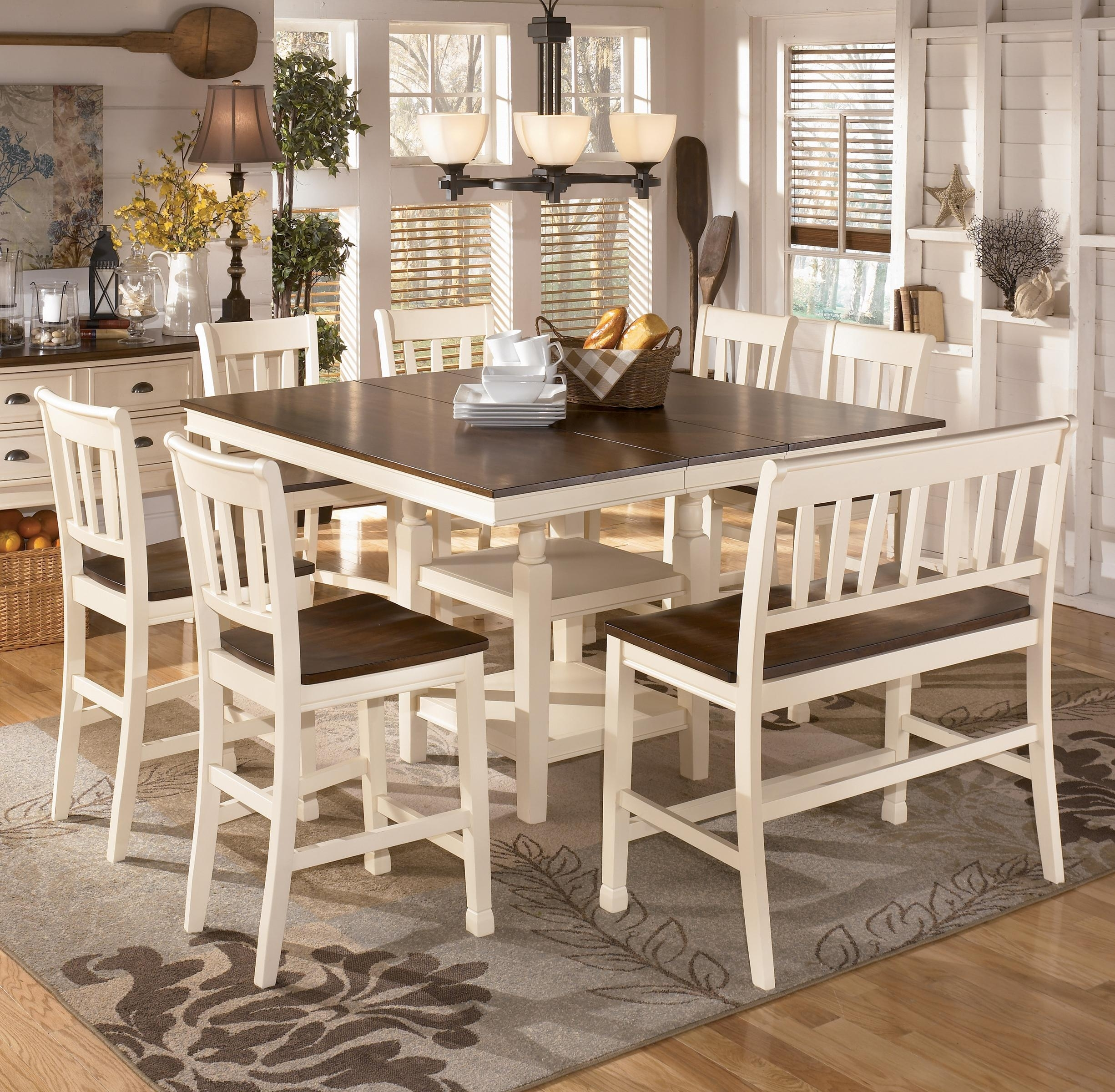 Signature Designashley Whitesburg 8 Piece Square Counter For Most Up To Date Jaxon 5 Piece Extension Round Dining Sets With Wood Chairs (Image 19 of 20)