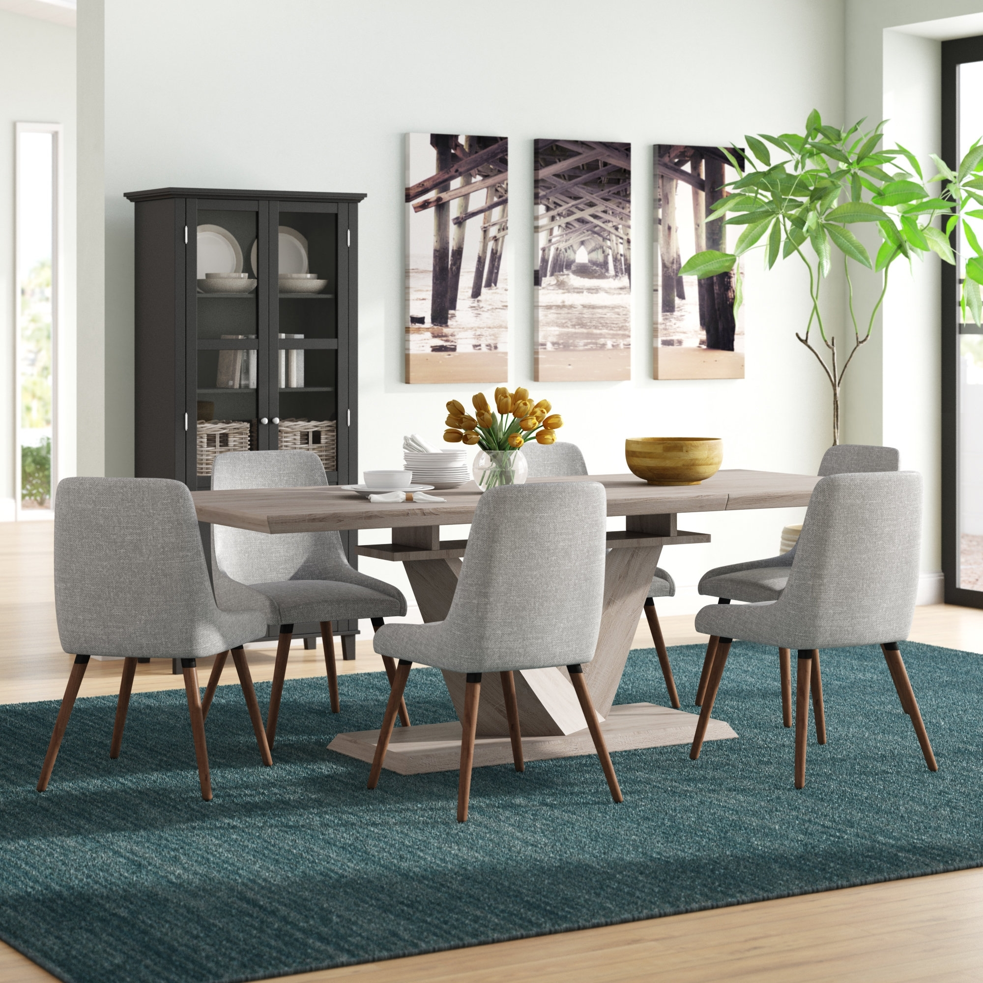 Simmers 7 Piece Dining Set | Allmodern Throughout Most Current Walden 9 Piece Extension Dining Sets (Image 11 of 20)