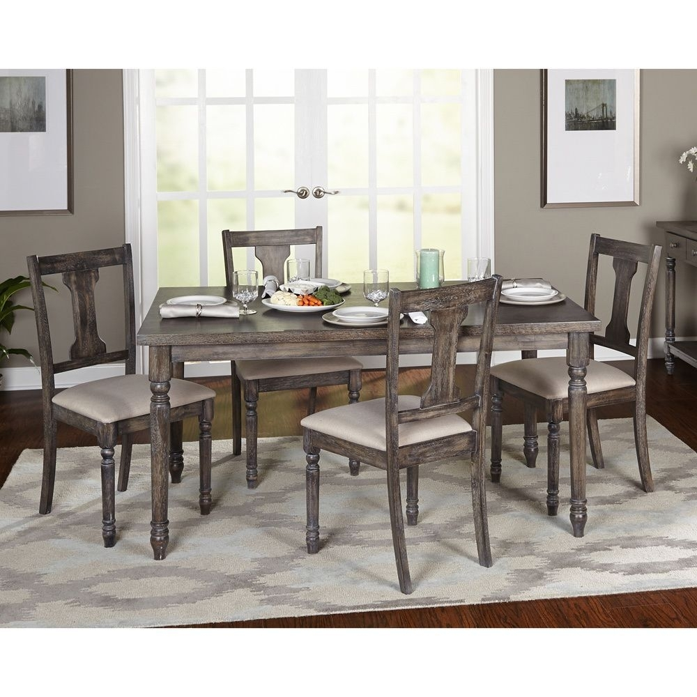 Simple Living 5 Piece Burntwood Dining Set (5 Piece Burntwood Dining Inside Current Combs 7 Piece Dining Sets With  Mindy Slipcovered Chairs (Image 20 of 20)