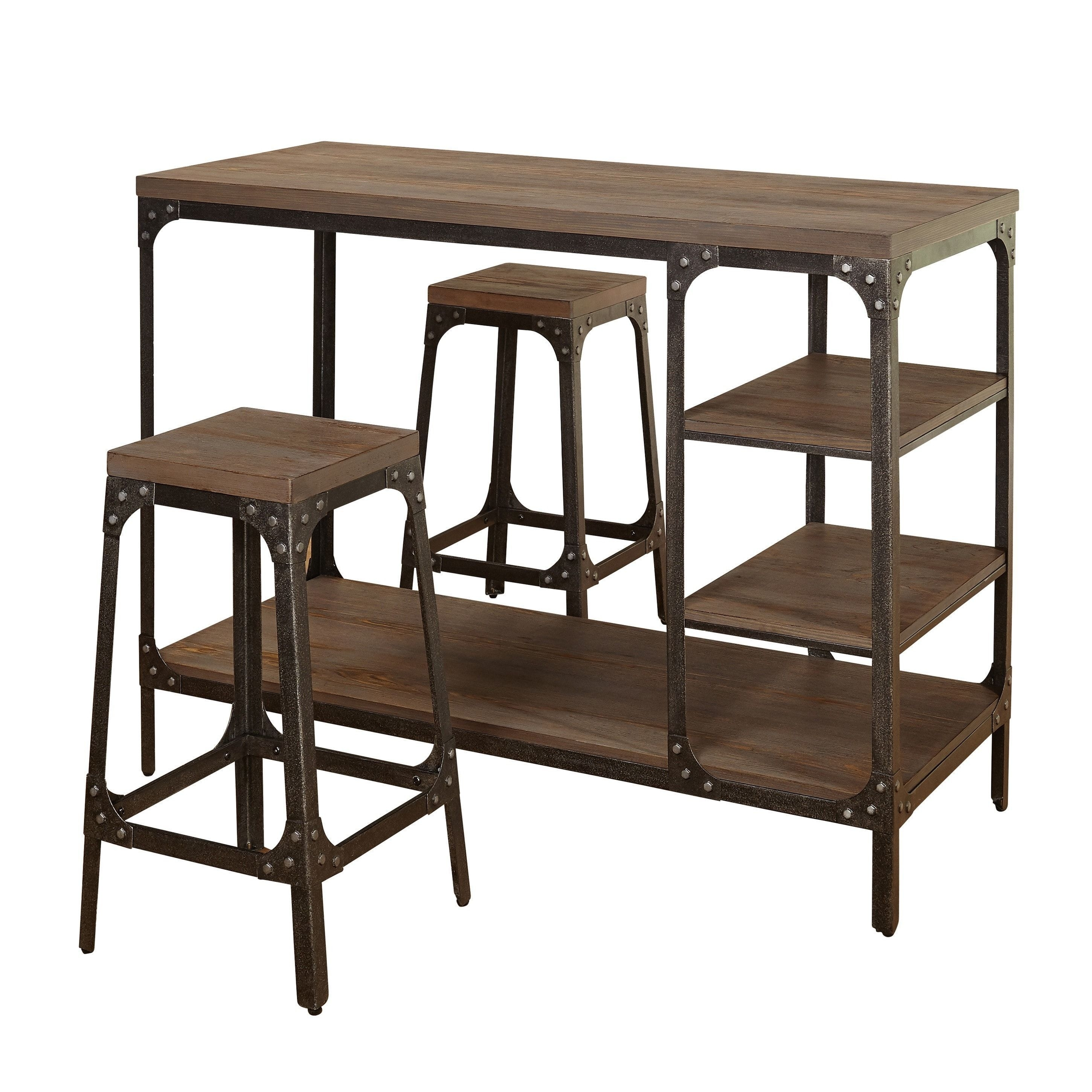 Simple Living Scholar Vintage Industrial 3 Piece Counter Height For 2018 Rocco 8 Piece Extension Counter Sets (View 10 of 20)