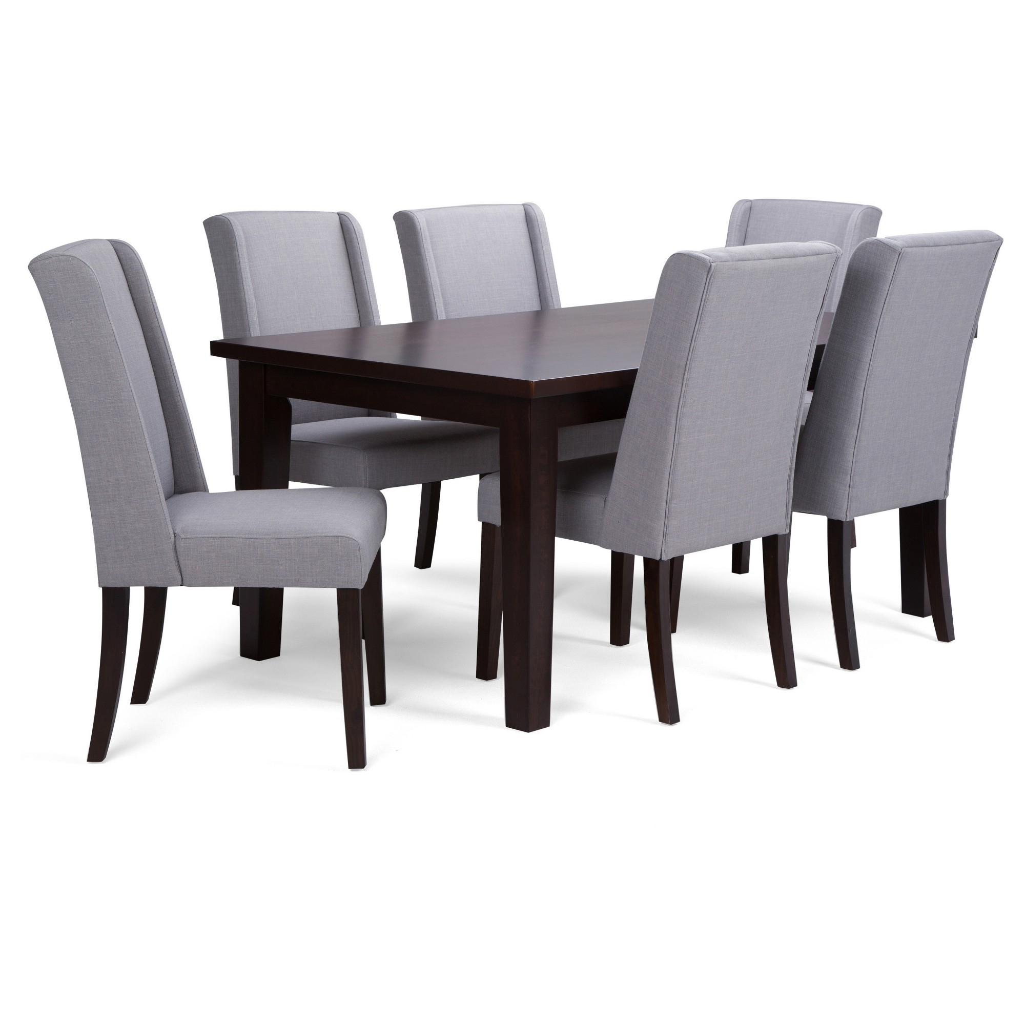 Simpli Home Dining Table Set Light Gray, Dove Gray | Products Within Most Recently Released Walden 7 Piece Extension Dining Sets (Image 11 of 20)