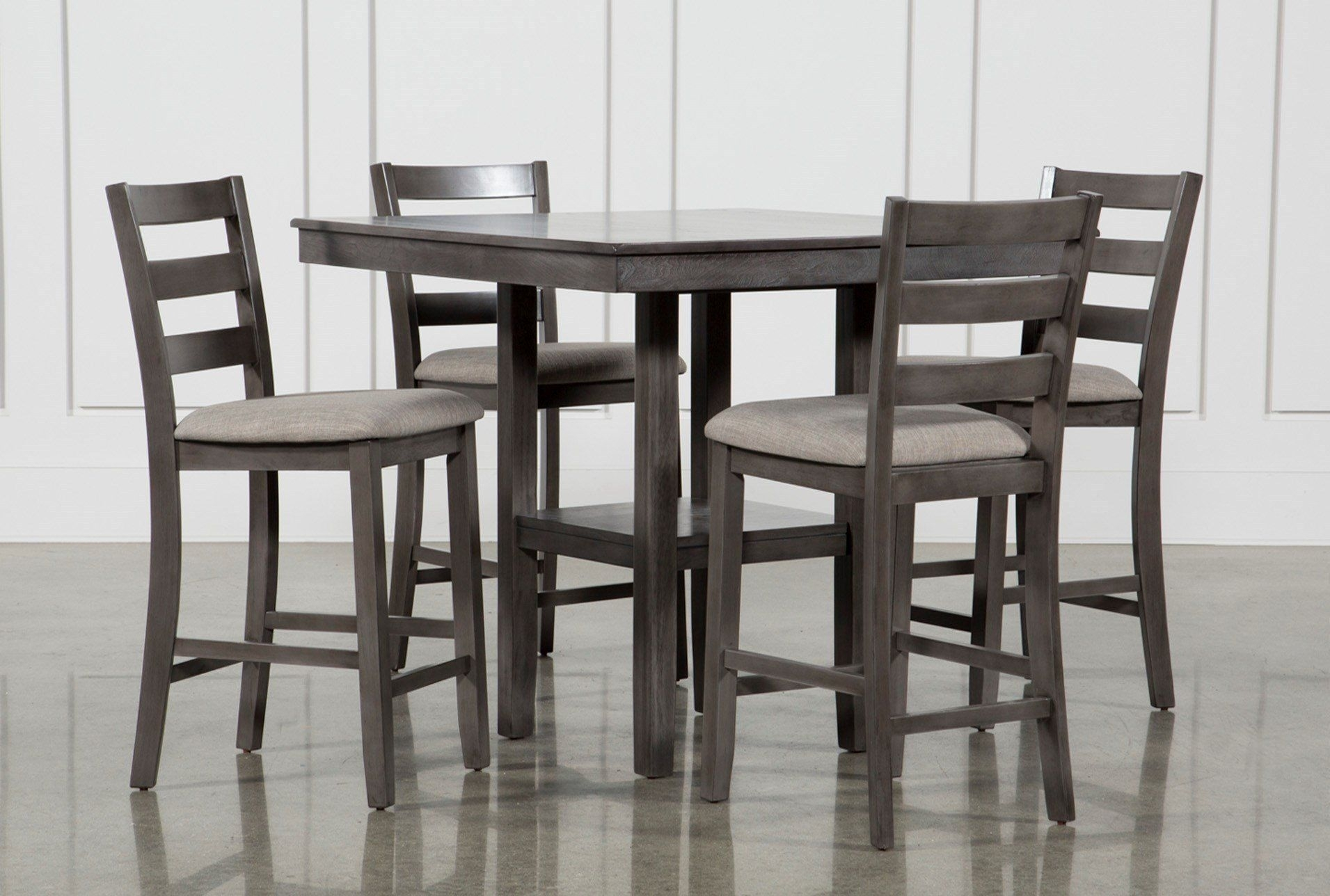 Sit High And Mighty On Our Jameson Grey 5 Piece Counter Set (Image 19 of 20)
