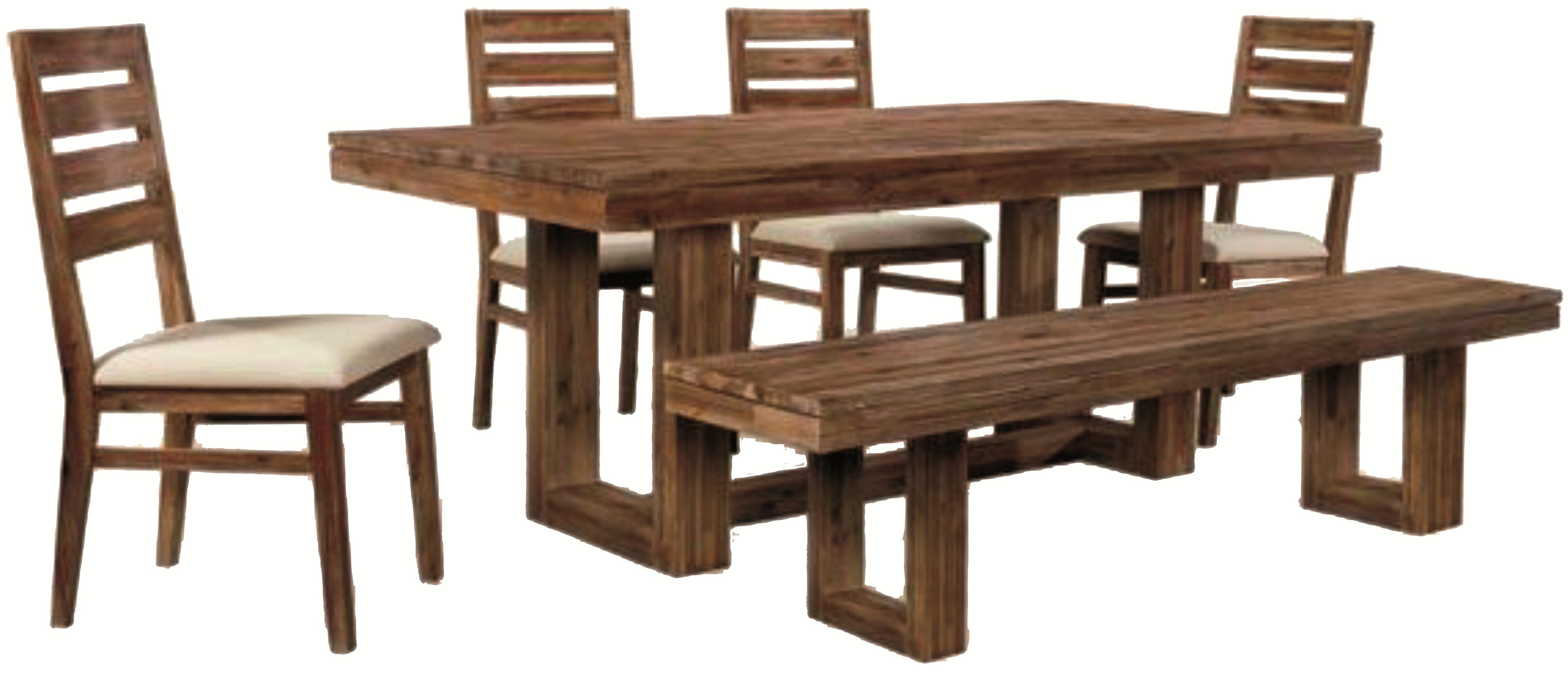 Six Piece Modern Rustic Rectangular Trestle Table With Ladderback Inside Recent Parquet 6 Piece Dining Sets (Image 19 of 20)