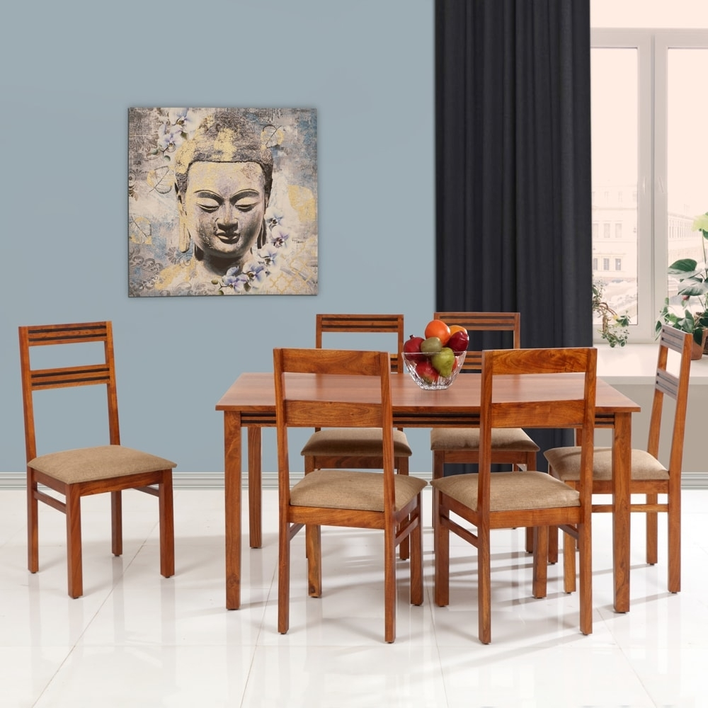 Six Seater, Logan Solidwood Dining Set 1+6 Walnut Intended For Most Recent Logan 6 Piece Dining Sets (Image 16 of 20)