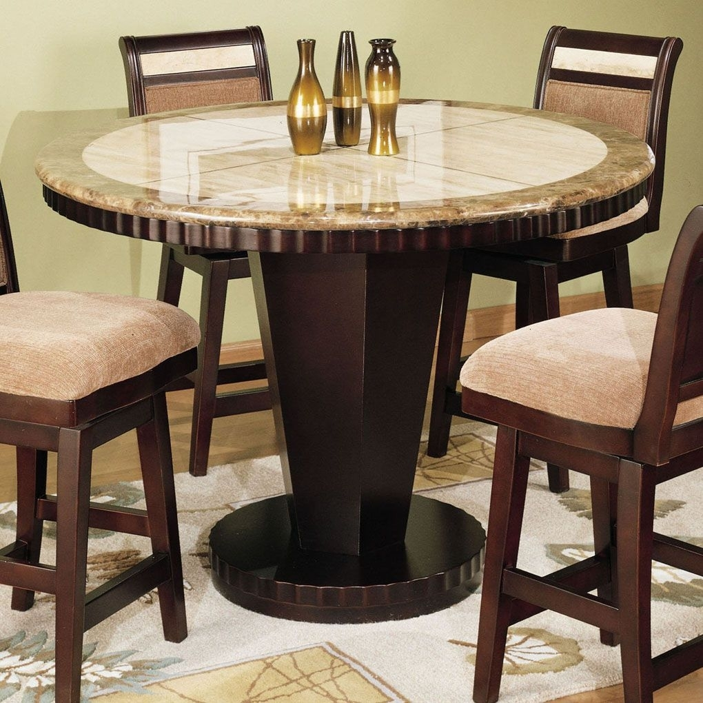 Small Pub Table With Dining Room Ideas | Corallo Round Counter Intended For Most Popular Palazzo 7 Piece Dining Sets With Pearson White Side Chairs (View 11 of 20)