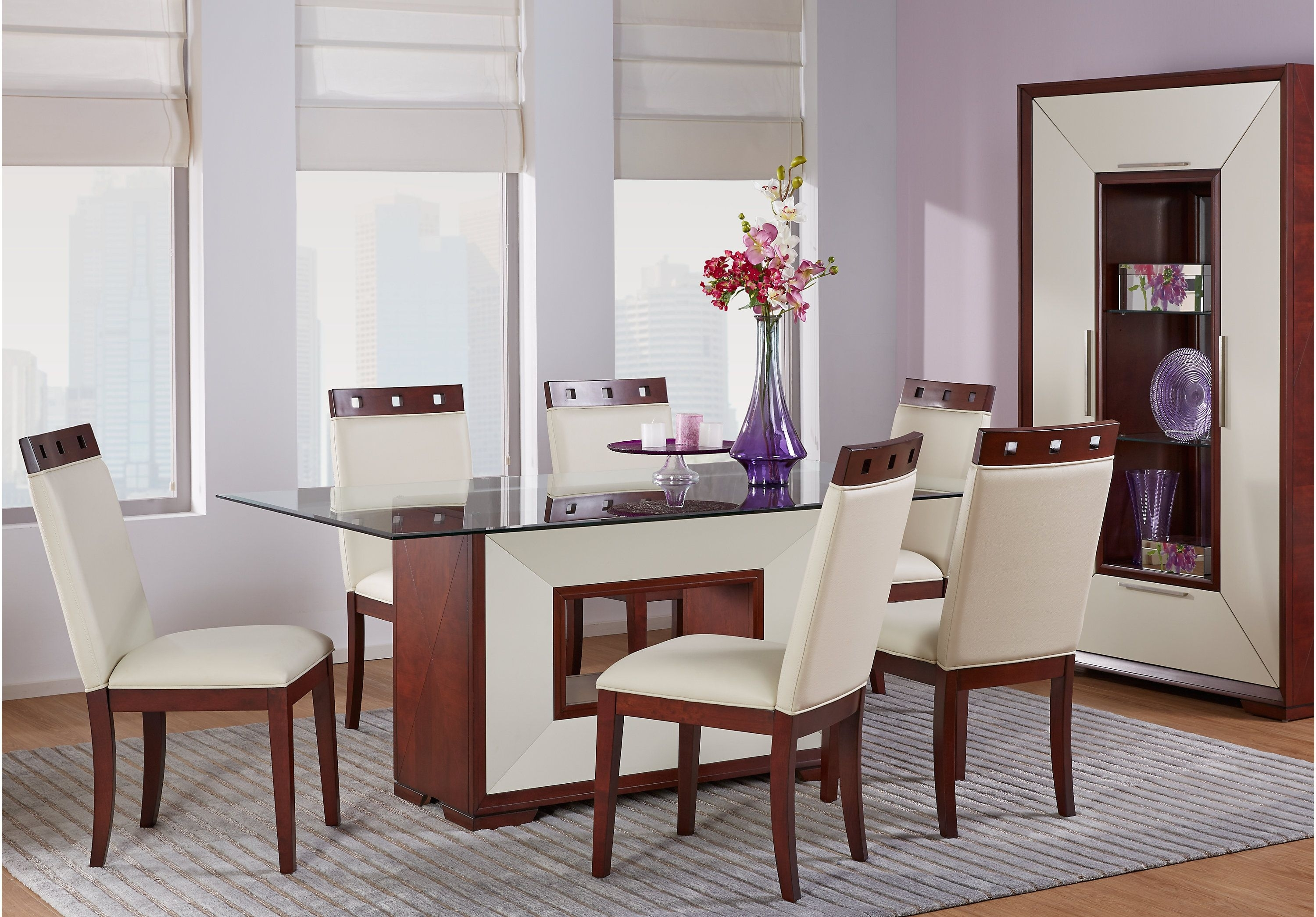 Sofia Vergara Savona Ivory 5 Pc Rectangle Dining Room With Glass Top With Recent Caira 7 Piece Rectangular Dining Sets With Diamond Back Side Chairs (View 15 of 20)