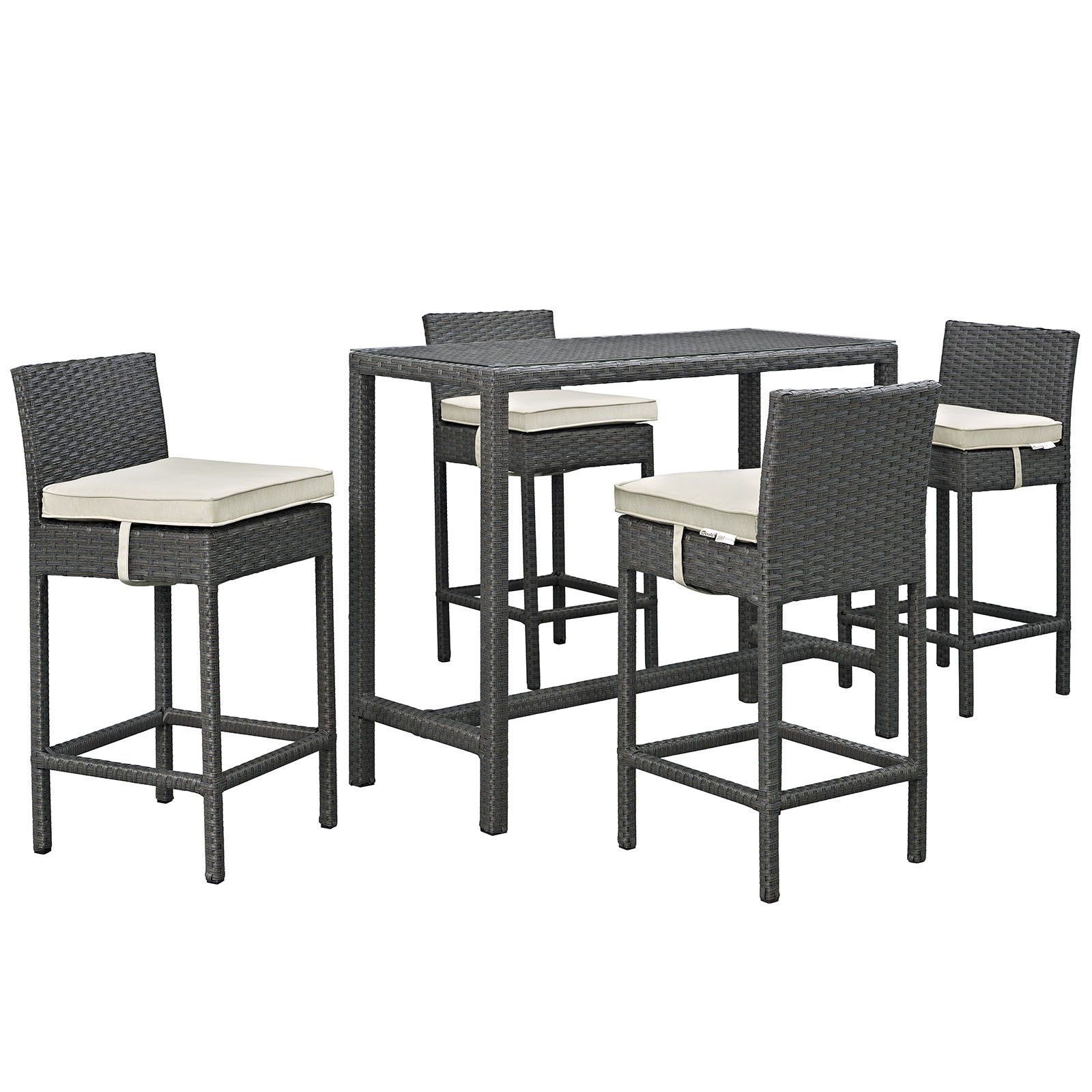Sojourn 5 Piece Outdoor Patio Rattan Sunbrella Pub Set | Pub Set And Intended For Newest Rocco 9 Piece Extension Counter Sets (Image 16 of 20)