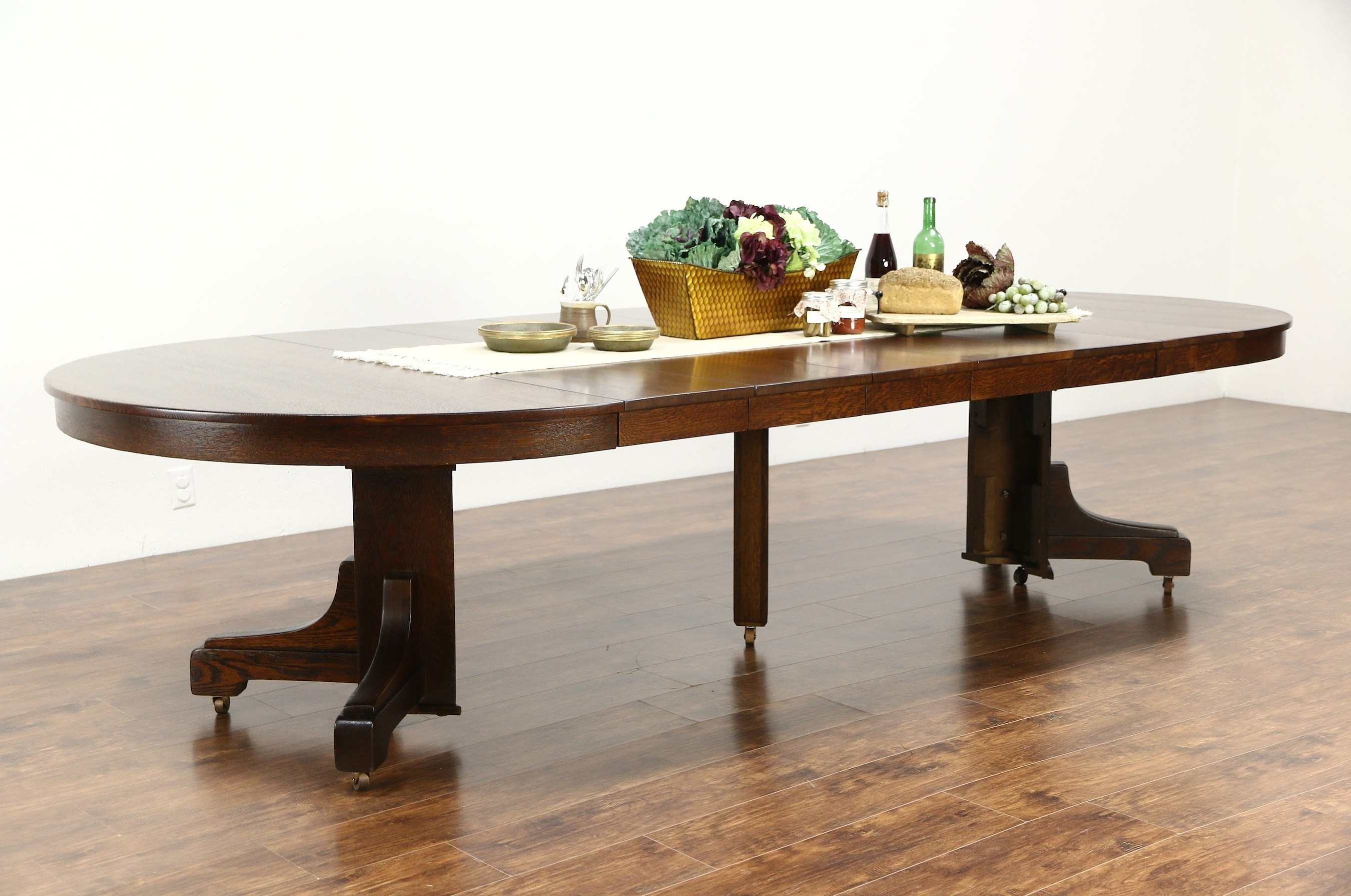 Sold – Arts & Crafts Mission Oak Antique Craftsman Dining Table 6 Intended For Newest Craftsman Round Dining Tables (Image 15 of 20)
