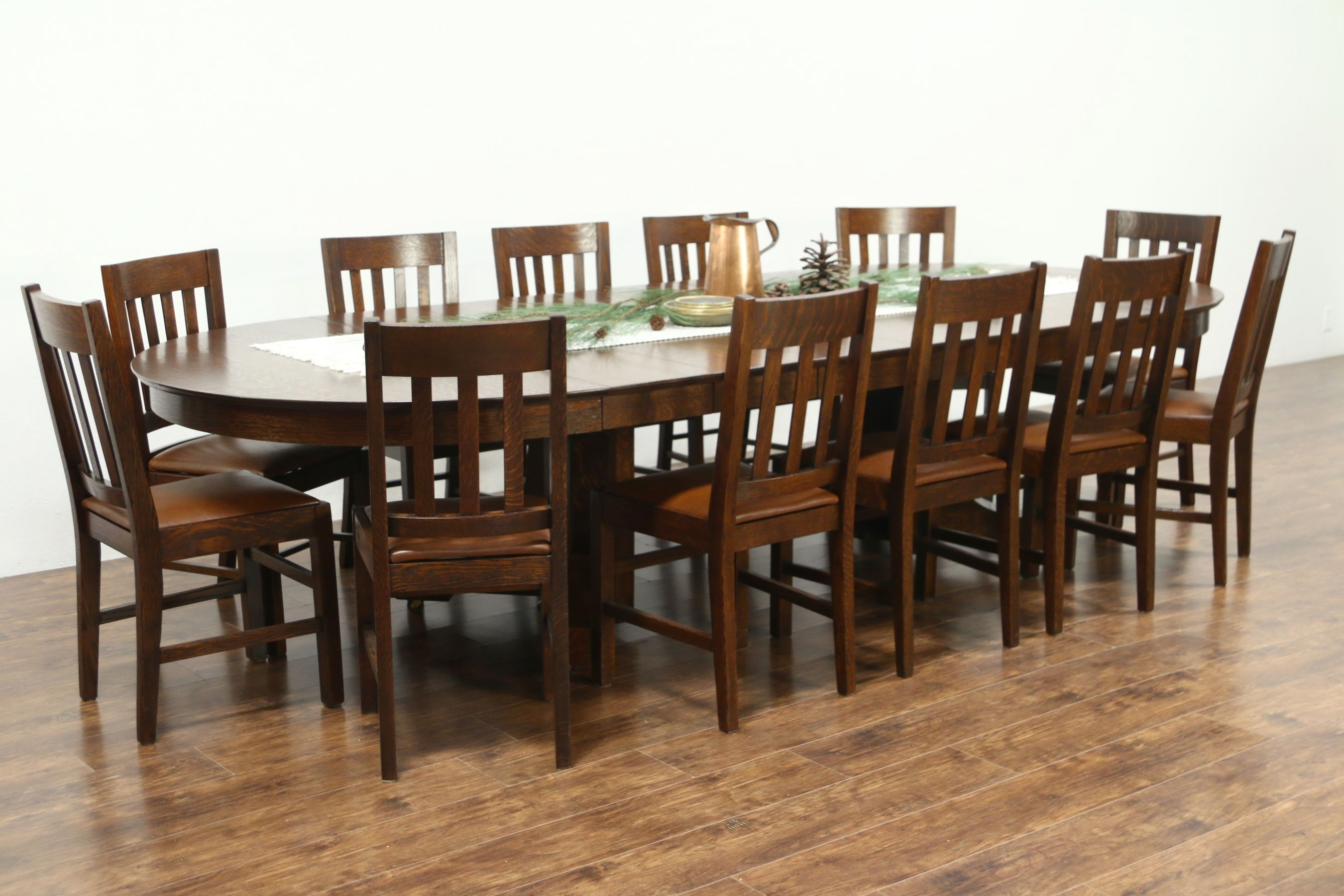 "Sold – Round 54"" Quarter Sawn Oak Antique Craftsman Dining Table, 6 With Regard To 2017 Craftsman Round Dining Tables (Image 16 of 20)"