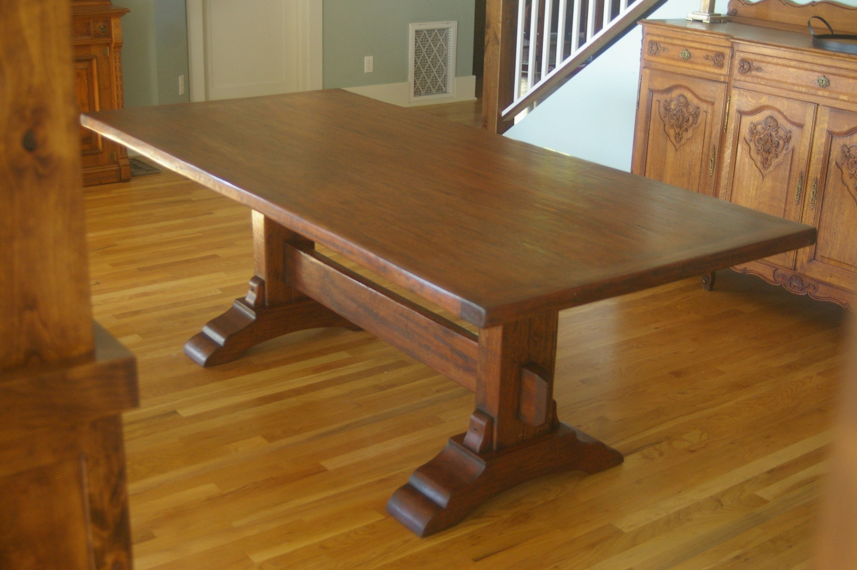 Solid Mahogany Trestle Table | Envie | Pinterest | Table, Trestle Inside Most Recently Released Magnolia Home Bench Keeping 96 Inch Dining Tables (Image 15 of 20)