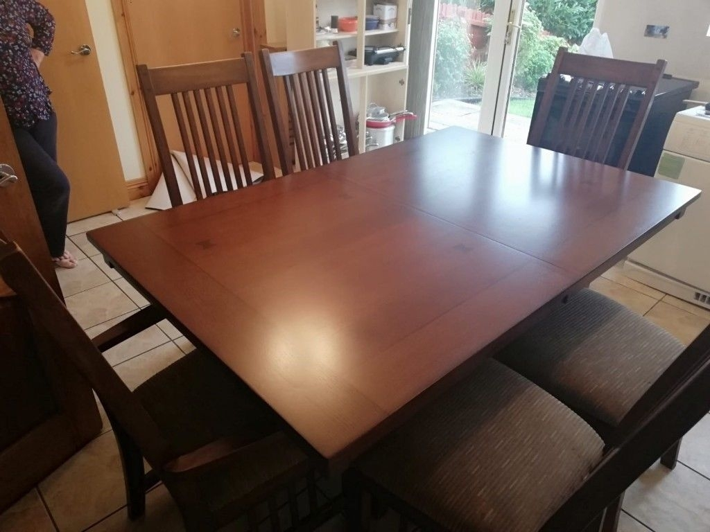 Solid Wood Dining Table With Extension Piece & 6 Chairs | In Pertaining To Best And Newest Caira 9 Piece Extension Dining Sets (Image 17 of 20)