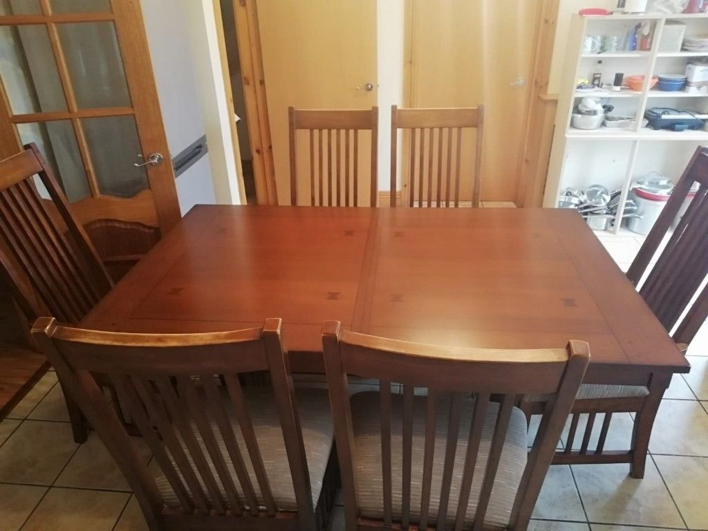 Solid Wood Dining Table With Extension Piece & 6 Chairs | In With Regard To Latest Caira 9 Piece Extension Dining Sets (Image 18 of 20)