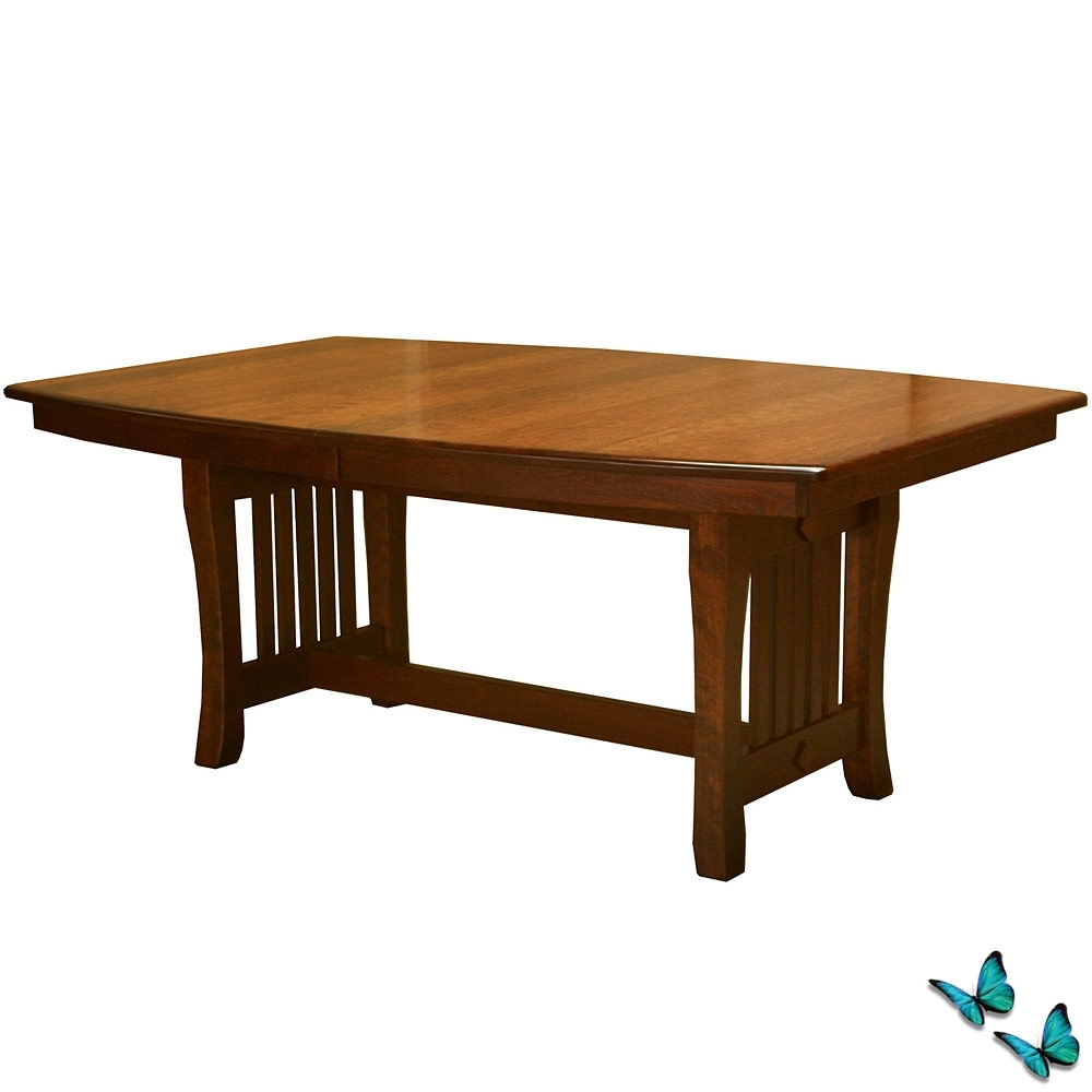Solid Wood Trestle Table: Amish Dining Room Set Extension Dining Pertaining To Recent Craftsman Rectangle Extension Dining Tables (Image 20 of 20)