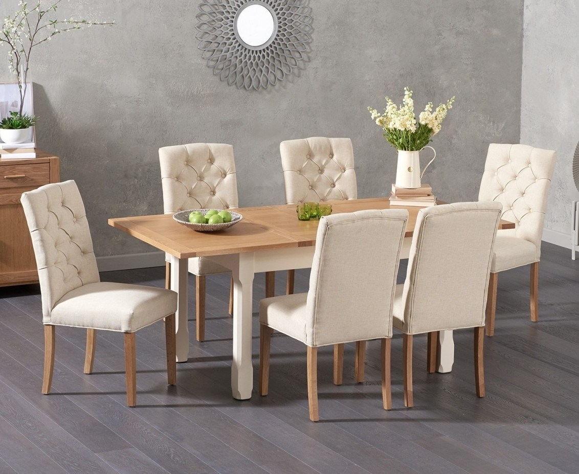 Somerset 130Cm Oak And Cream Extending Dining Table With Candice For Newest Candice Ii Round Dining Tables (Image 15 of 20)