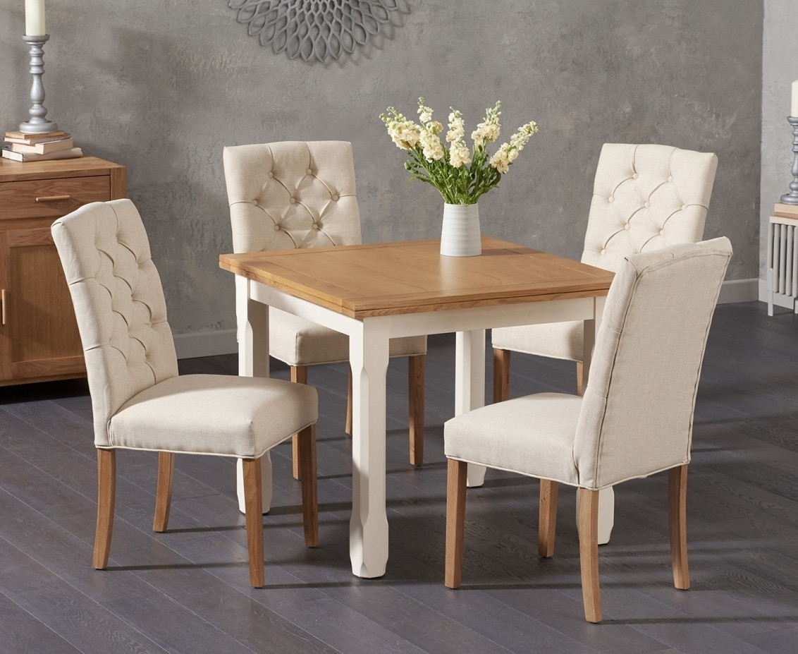 Somerset 90Cm Flip Top Oak And Cream Dining Table With Candice Cream Regarding Most Up To Date Candice Ii Round Dining Tables (Photo 9 of 20)