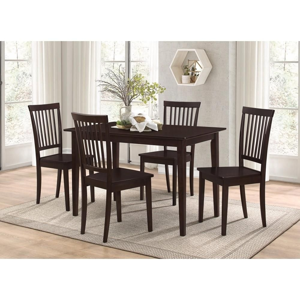 Sophisticated And Sturdy 5 Piece Wooden Dining Set, Brown In 2018 For Newest Craftsman 9 Piece Extension Dining Sets With Uph Side Chairs (View 12 of 20)