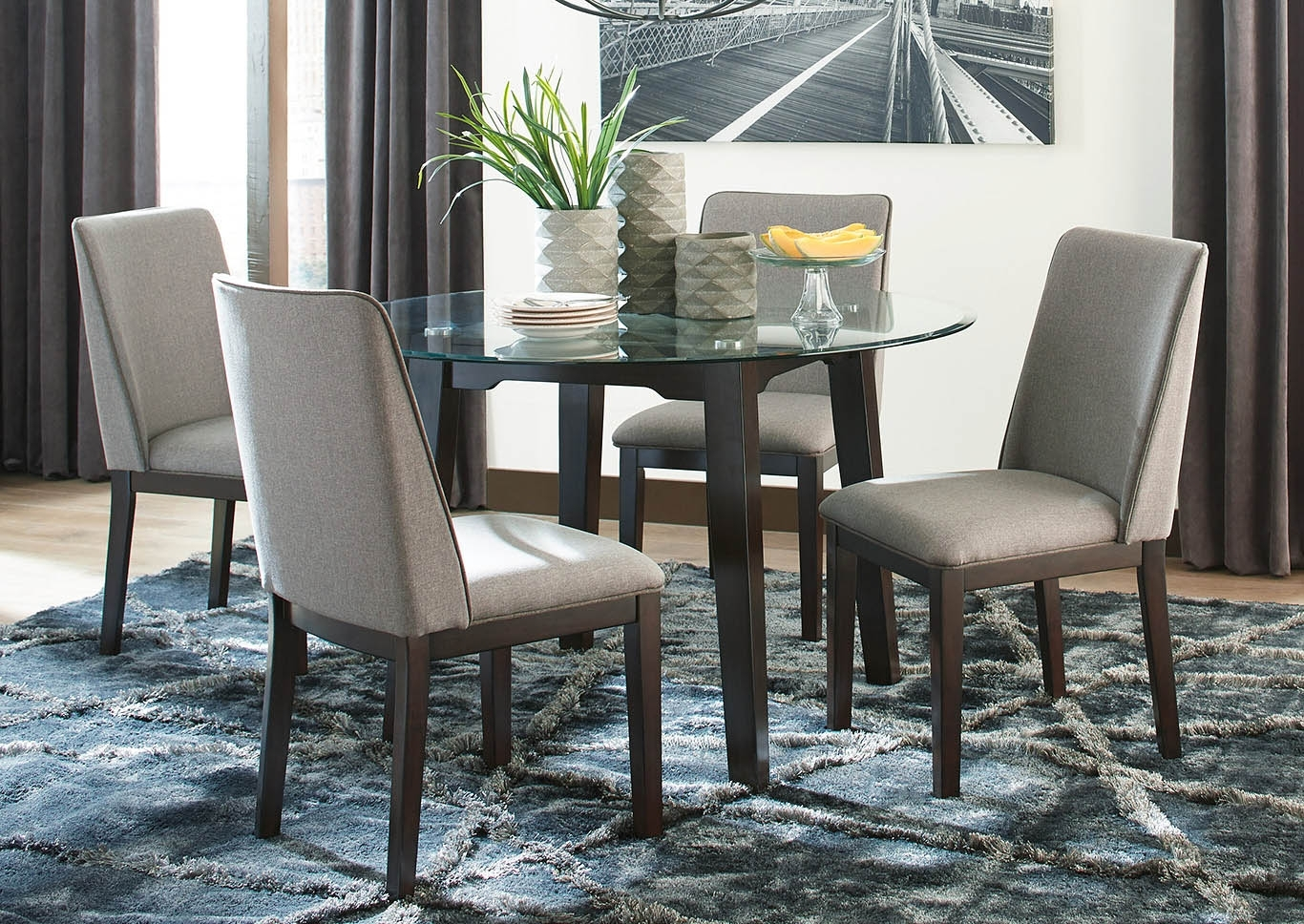 Southside Furniture Chanceen 5 Piece Dining Room Set For 2018 Craftsman 5 Piece Round Dining Sets With Uph Side Chairs (Image 18 of 20)