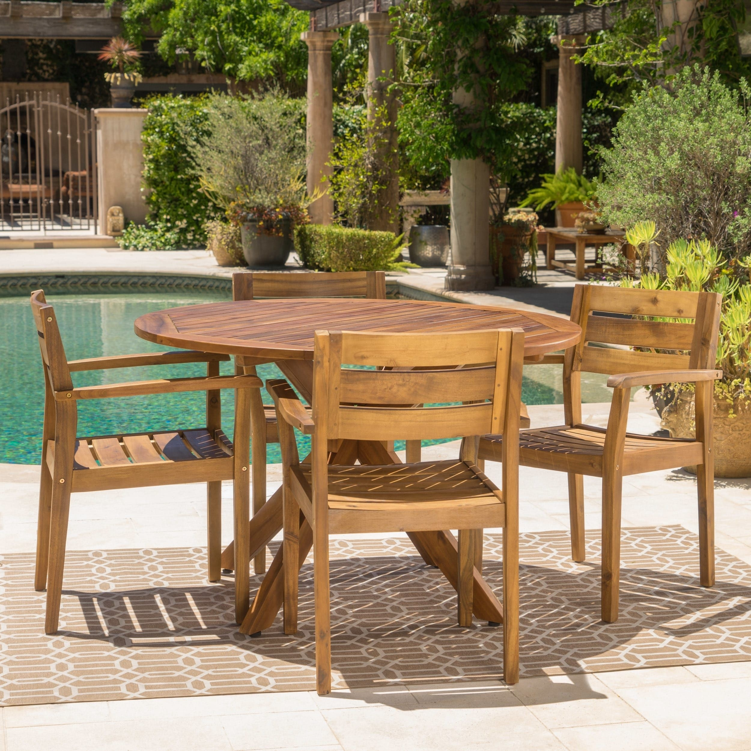 Stamford Outdoor 5 Piece Round Acacia Wood Dining Setchristopher Within Recent Outdoor Brasilia Teak High Dining Tables (View 7 of 20)