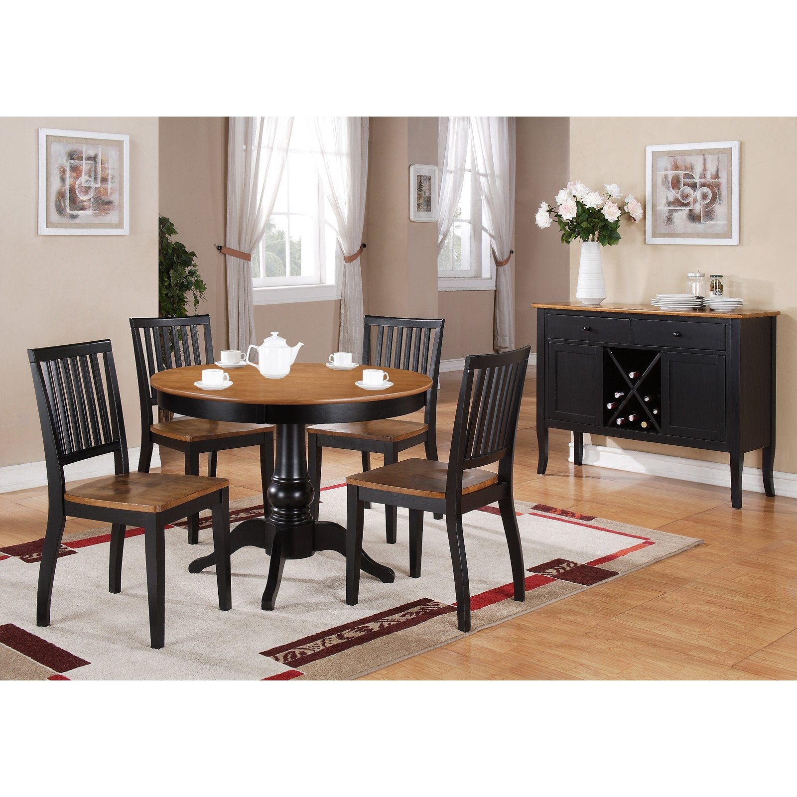 Steve Silver 5 Piece Candice Two Tone Round Pedestal Dining Table Inside Newest Candice Ii 5 Piece Round Dining Sets With Slat Back Side Chairs (Image 17 of 20)