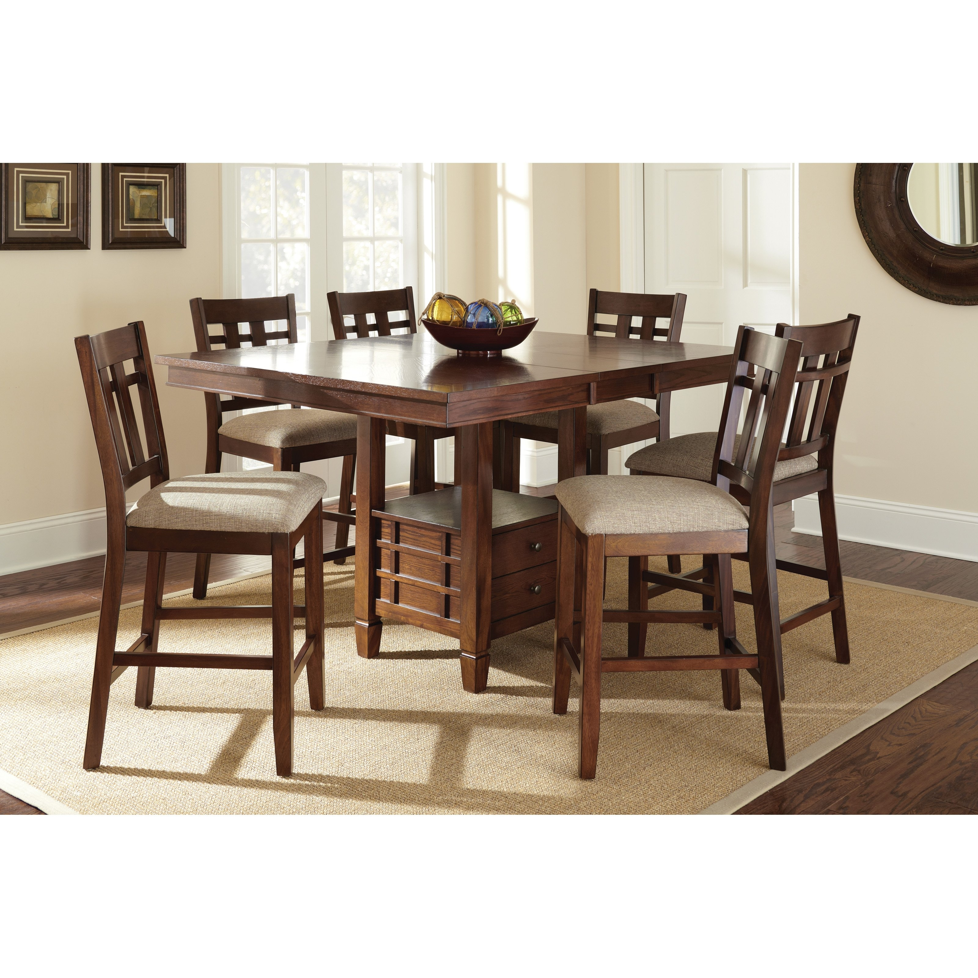 Steve Silver Bolton 7 Piece Counter Height Storage Dining Table Set With Regard To Most Up To Date Candice Ii 7 Piece Extension Rectangular Dining Sets With Uph Side Chairs (Image 18 of 20)