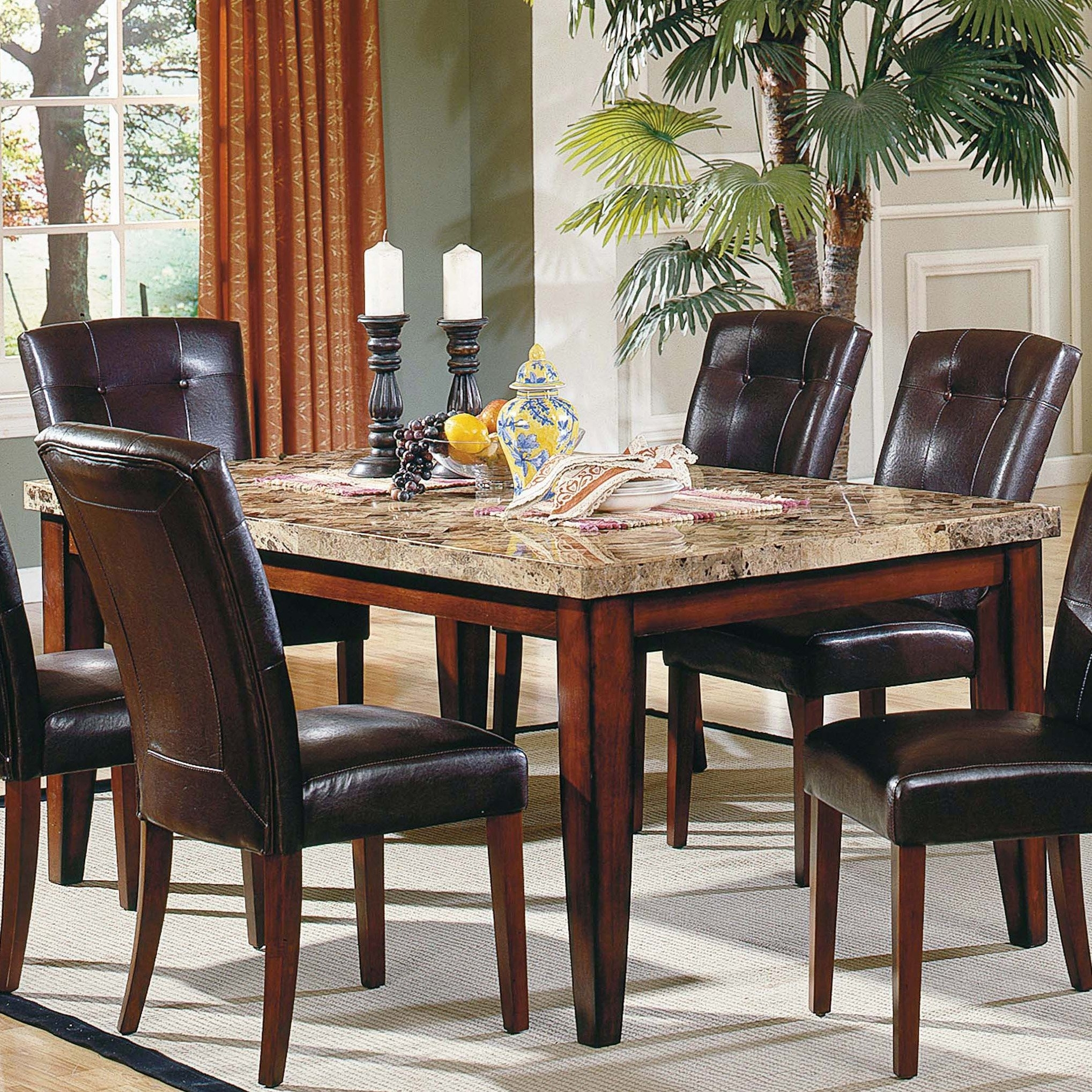 Steve Silver Montibello Marble Top Rectangular Dining Table Intended For Most Recent Palazzo 3 Piece Dining Table Sets (Image 19 of 20)