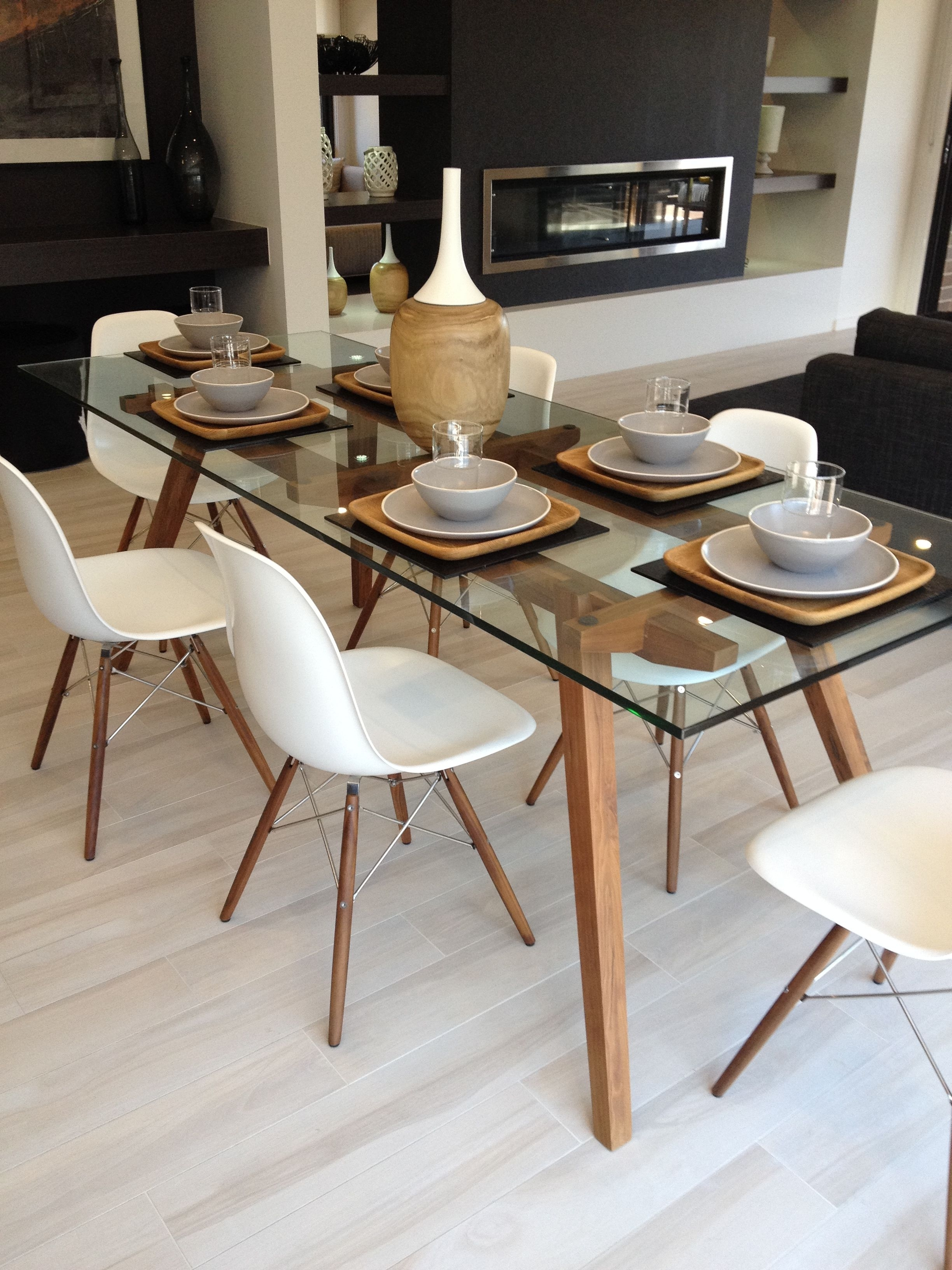 Sticotti Glass Dining Table And Eames Dining Chairs In Walnut Intended For Recent Helms 6 Piece Rectangle Dining Sets With Side Chairs (View 8 of 20)