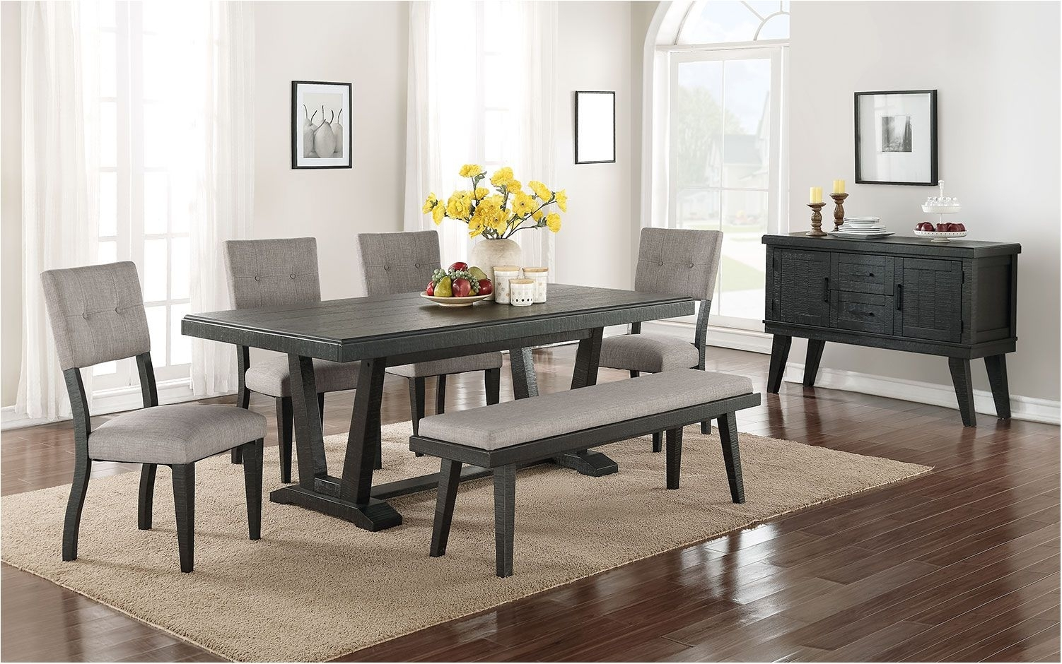 Stunning 6 Piece Dining Room Set Black And Grey Leon – Dining Room For Most Recently Released Leon 7 Piece Dining Sets (View 10 of 20)