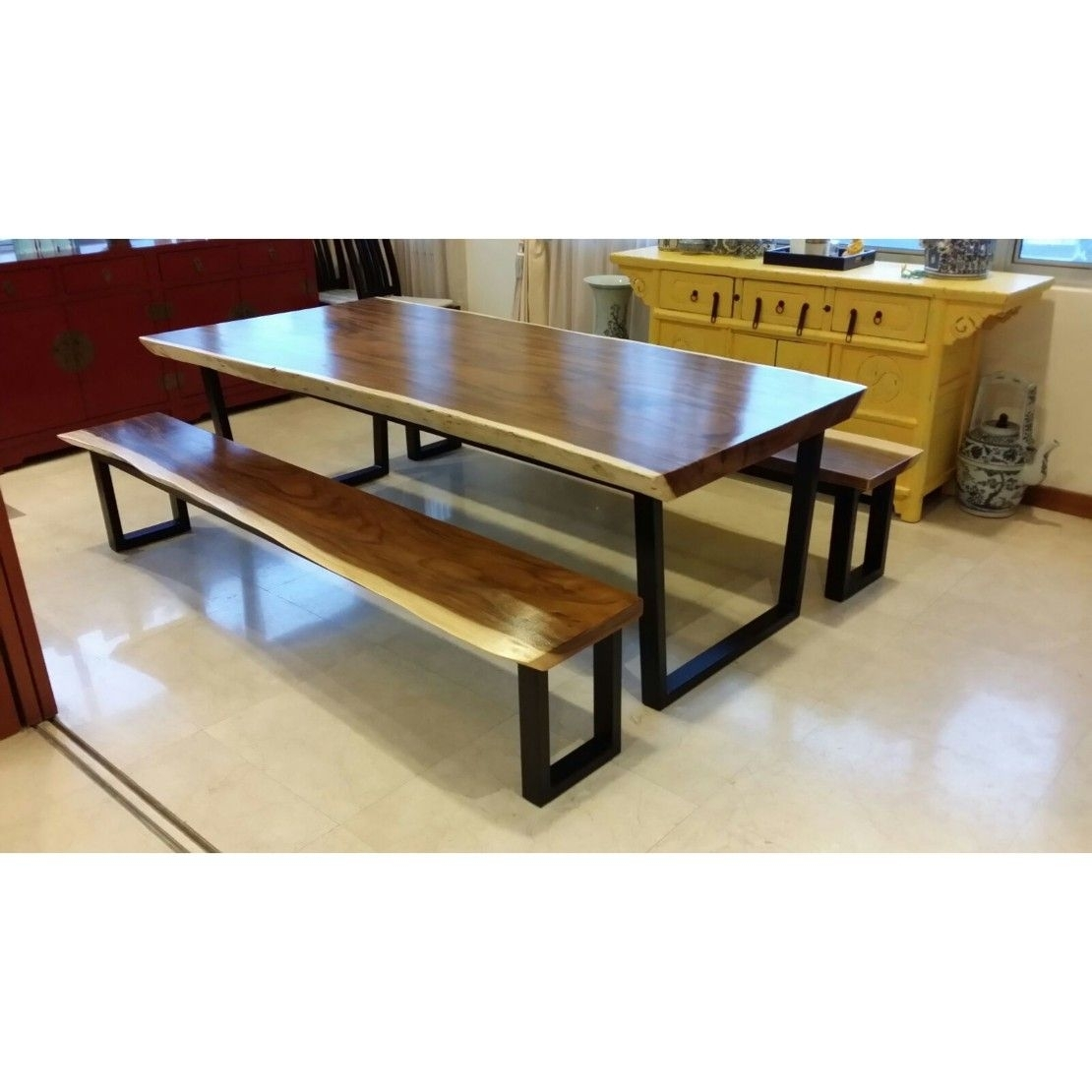 Suar Wood Dining Table With Suar Wood Dining Bench Set Delivered To Intended For Current Caden Rectangle Dining Tables (Image 20 of 20)