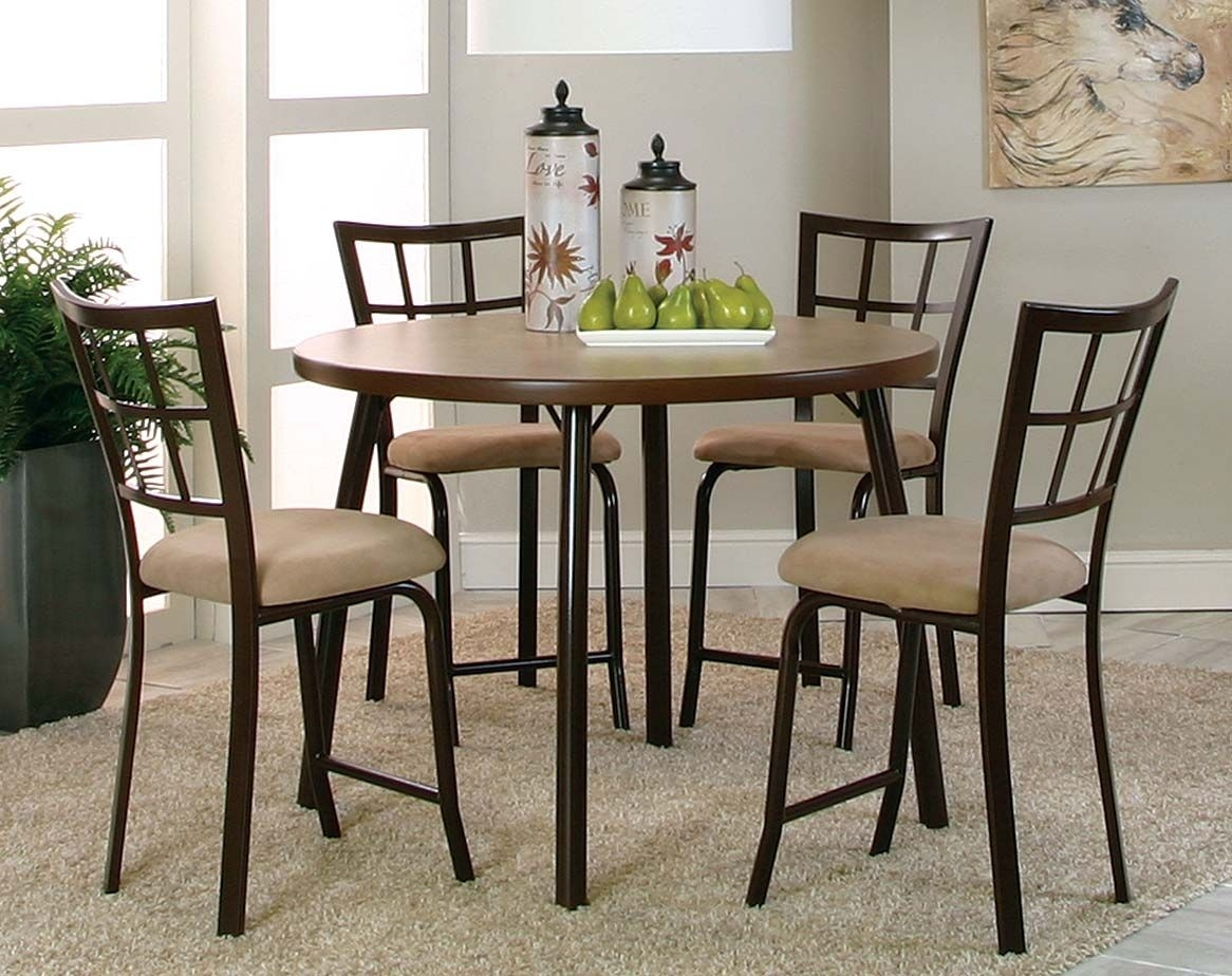 Suede Chocolate Brown Steel Bar Set | Vision 5 Piece Pub Set | New Inside Current Candice Ii 5 Piece Round Dining Sets (Image 18 of 20)
