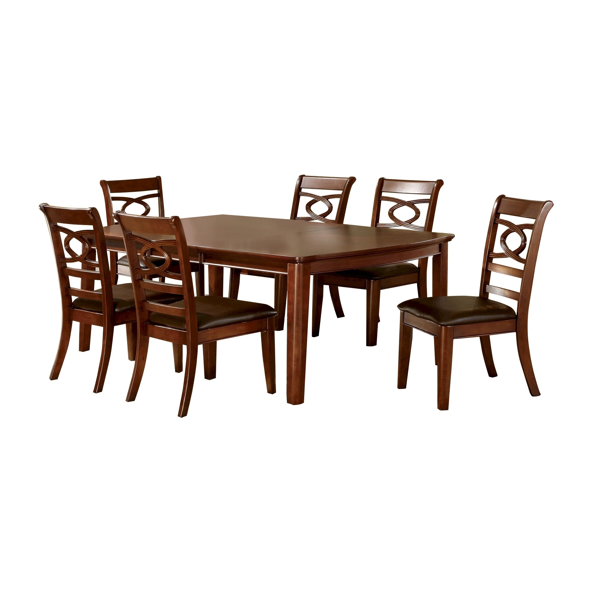 Sun & Pine 7Pc Simple Dining Table Set Wood/brown Cherry | Products Pertaining To Most Popular Norwood 7 Piece Rectangular Extension Dining Sets With Bench & Uph Side Chairs (Image 18 of 20)