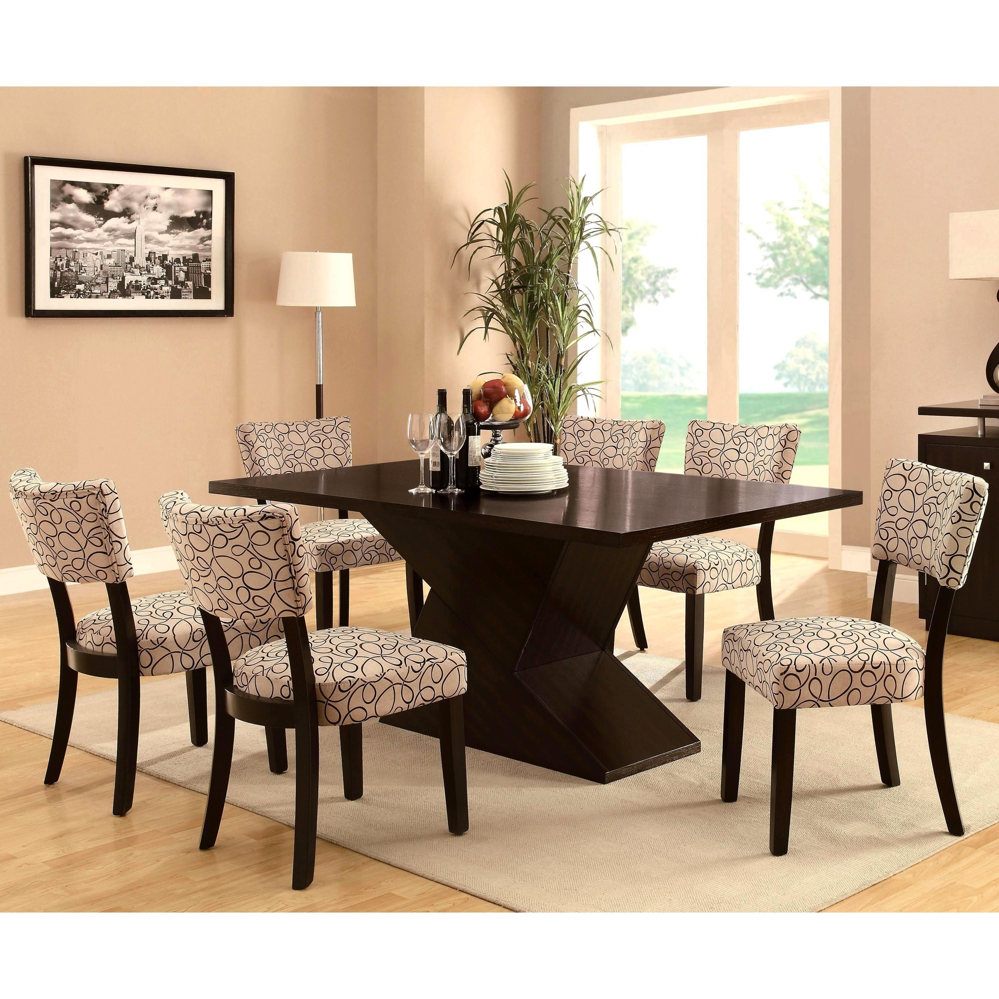 Table Features A Unique Chunky Block Base That Provides Sturdy In Latest Chandler 7 Piece Extension Dining Sets With Fabric Side Chairs (View 10 of 20)