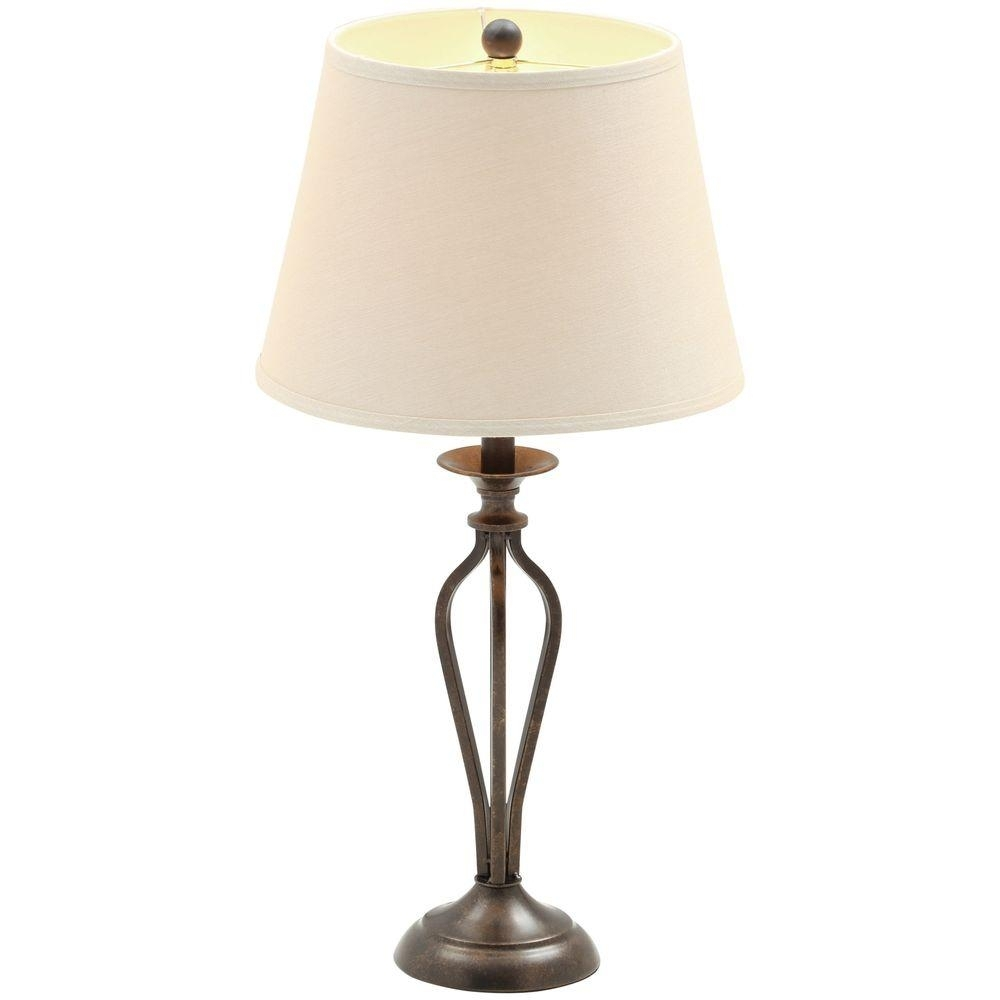 Table Lamps – Lamps – The Home Depot In Most Up To Date Ina Pewter 60 Inch Counter Tables With Frosted Glass (Photo 5 of 20)