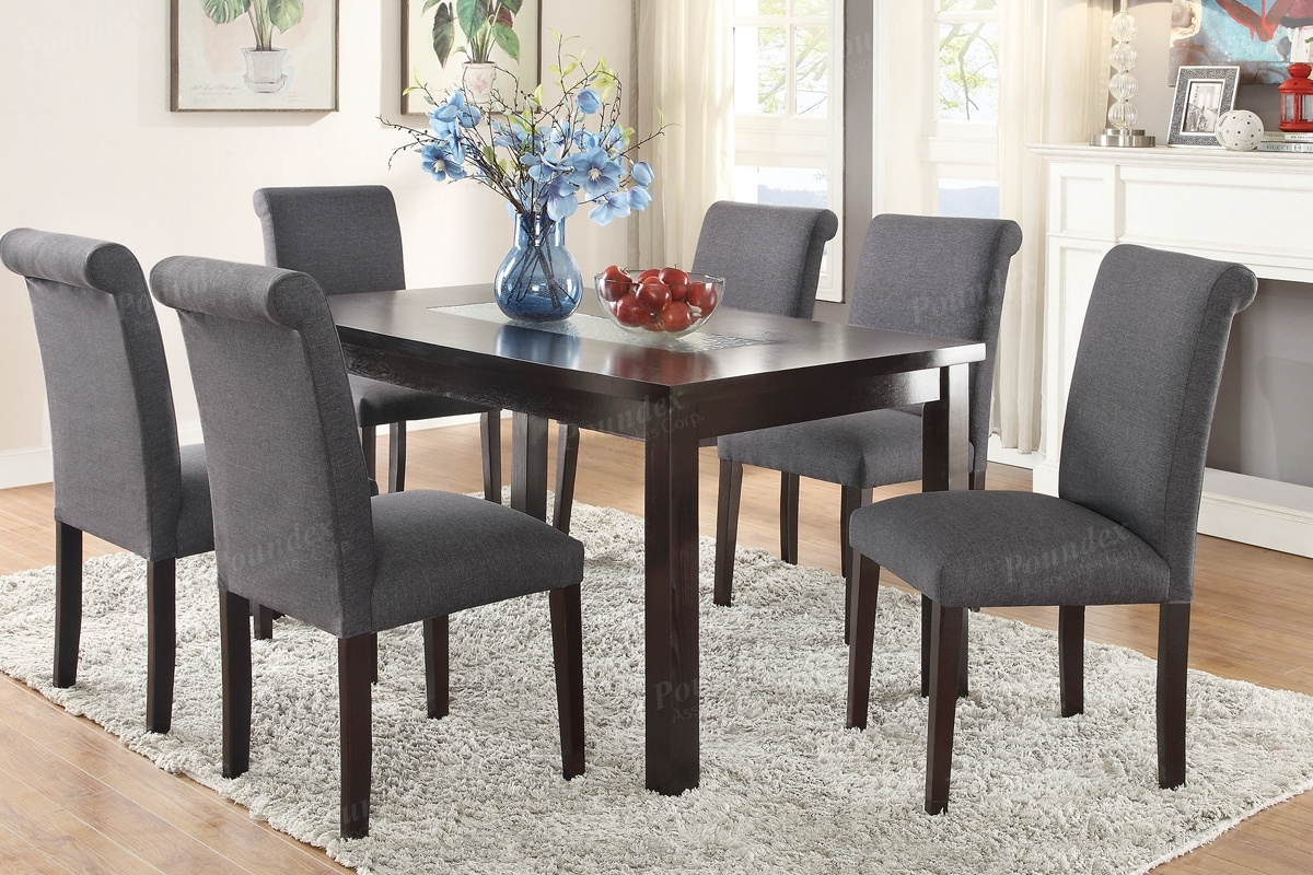 Tables, Chairs, & Servers – Hello Furniture In Most Current Jaxon 7 Piece Rectangle Dining Sets With Upholstered Chairs (Image 19 of 20)